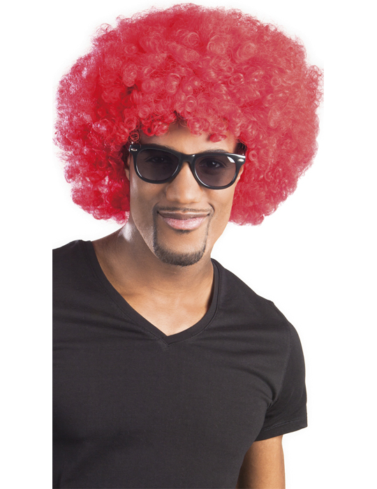 Afro-Perücke Disko rot für Erwachsene 4434
