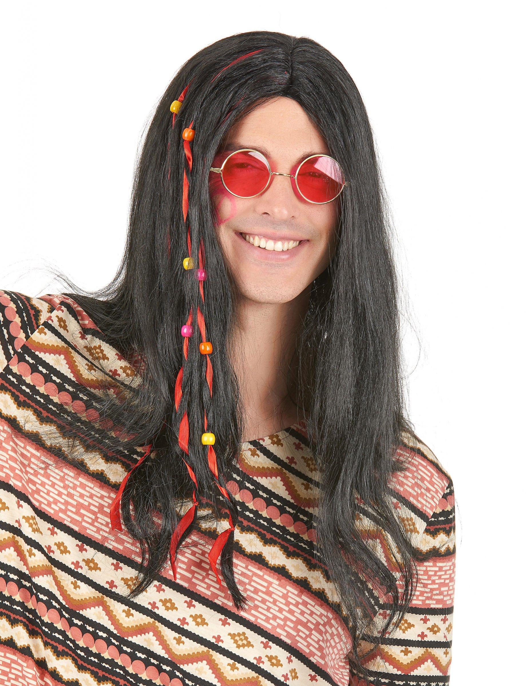 Schwarze Hippie-Perücke für Herren mit Perlen 4496