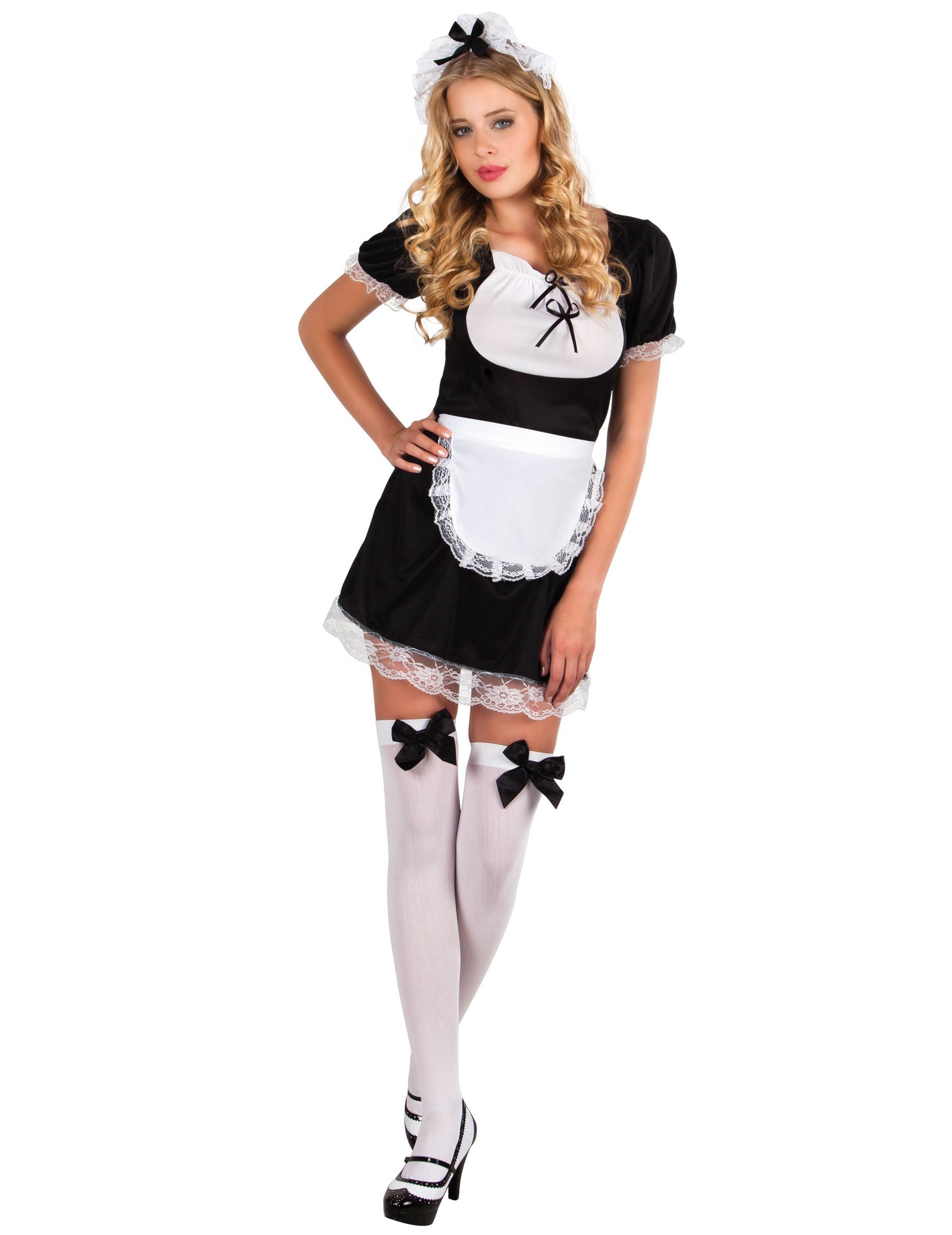 Zimmermädchen-Kostüm für Damen sexy schwarz-weiss 6539