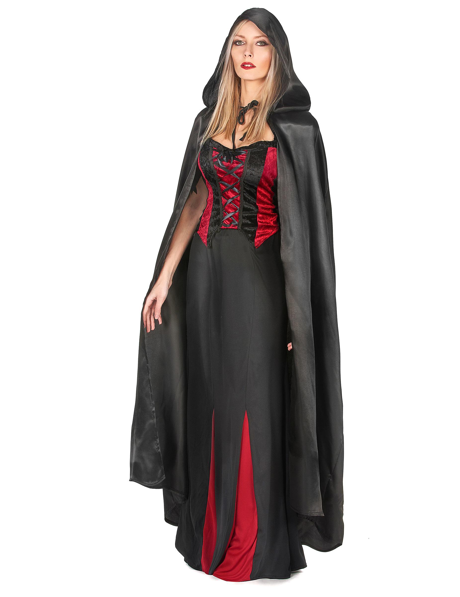 vampirella umhang schwarz halloween f r erwachsene. Black Bedroom Furniture Sets. Home Design Ideas