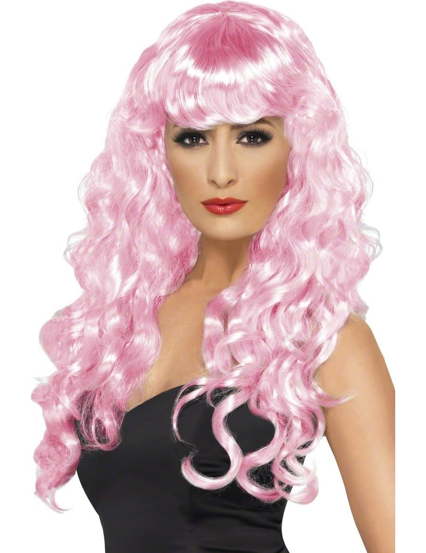 Lockige rosa Nixen-Perücke für Damen. 5400