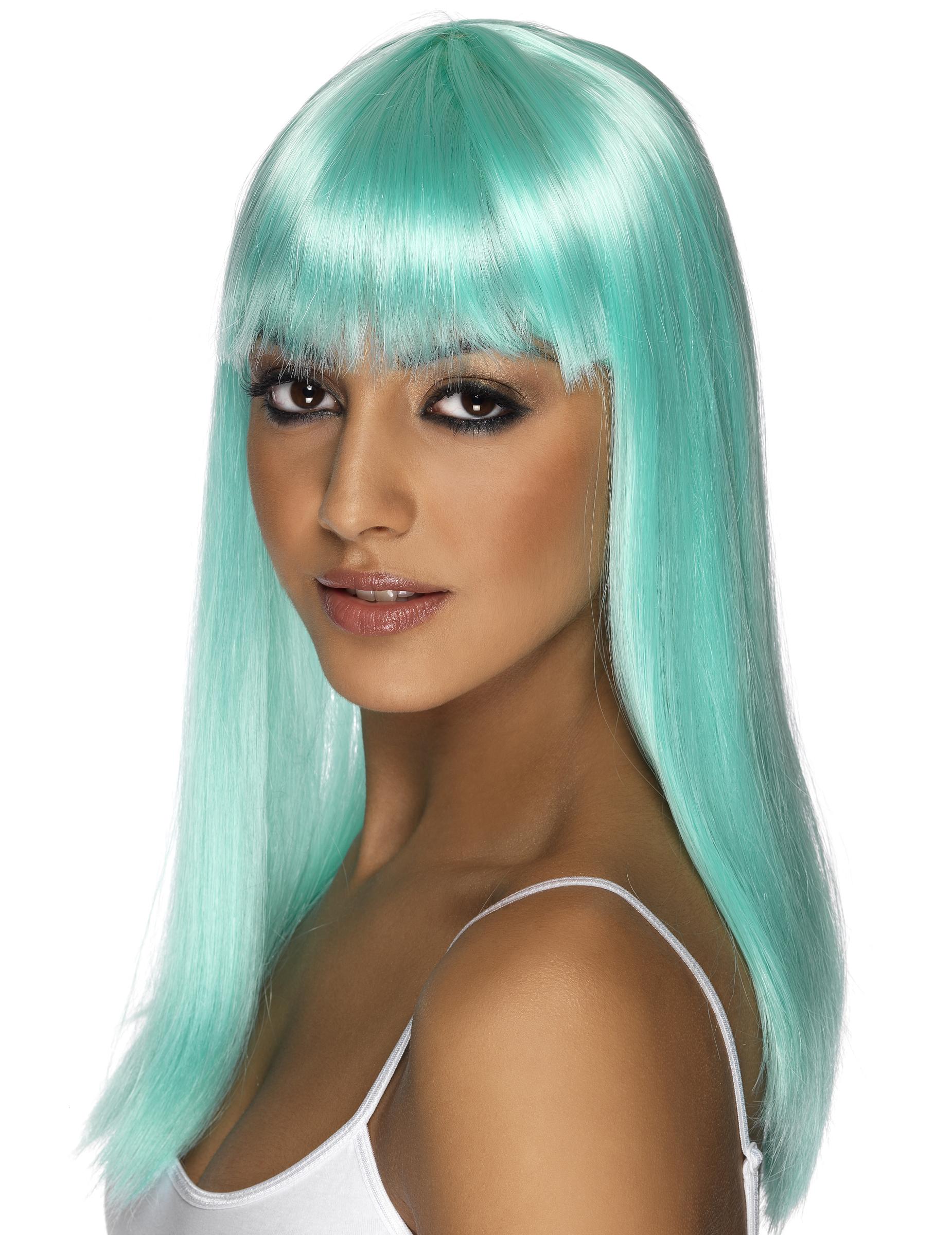 Glamouröse türkisblaue Perücke für Damen 29874