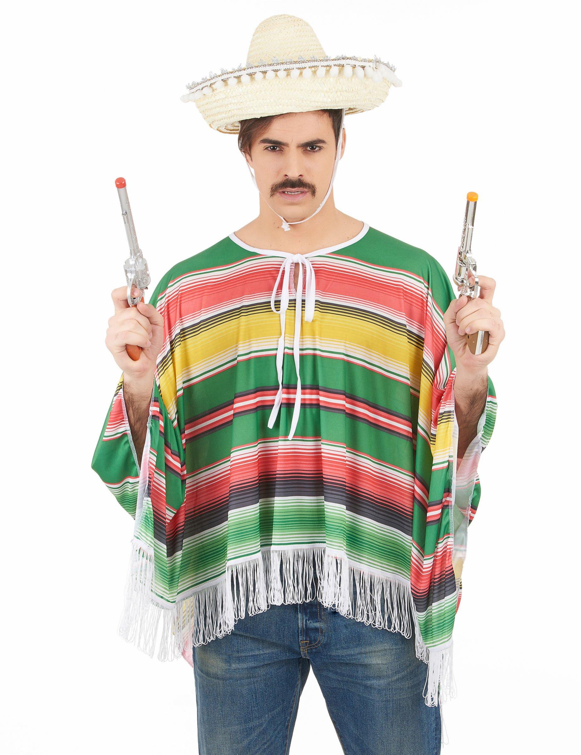 Mexikaner-Kostüm Poncho für Herren bunt 37860