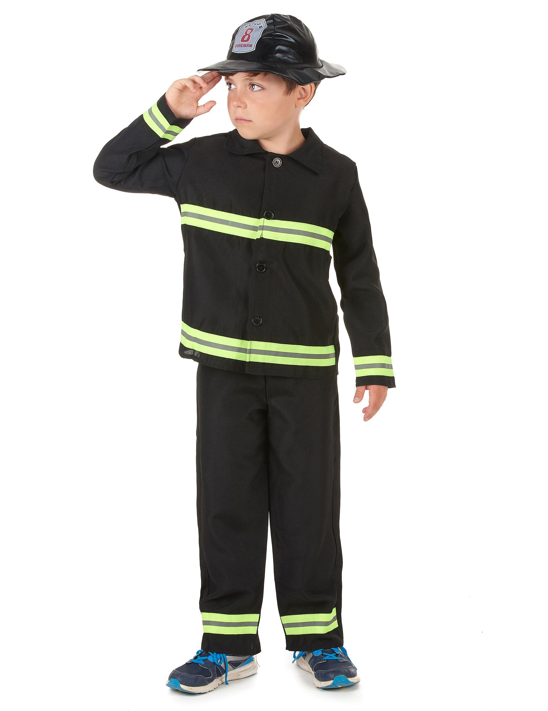 Feuerwehrmann-Kostüm für Jungen Beruf schwarz-gelb: Kostüme für ...