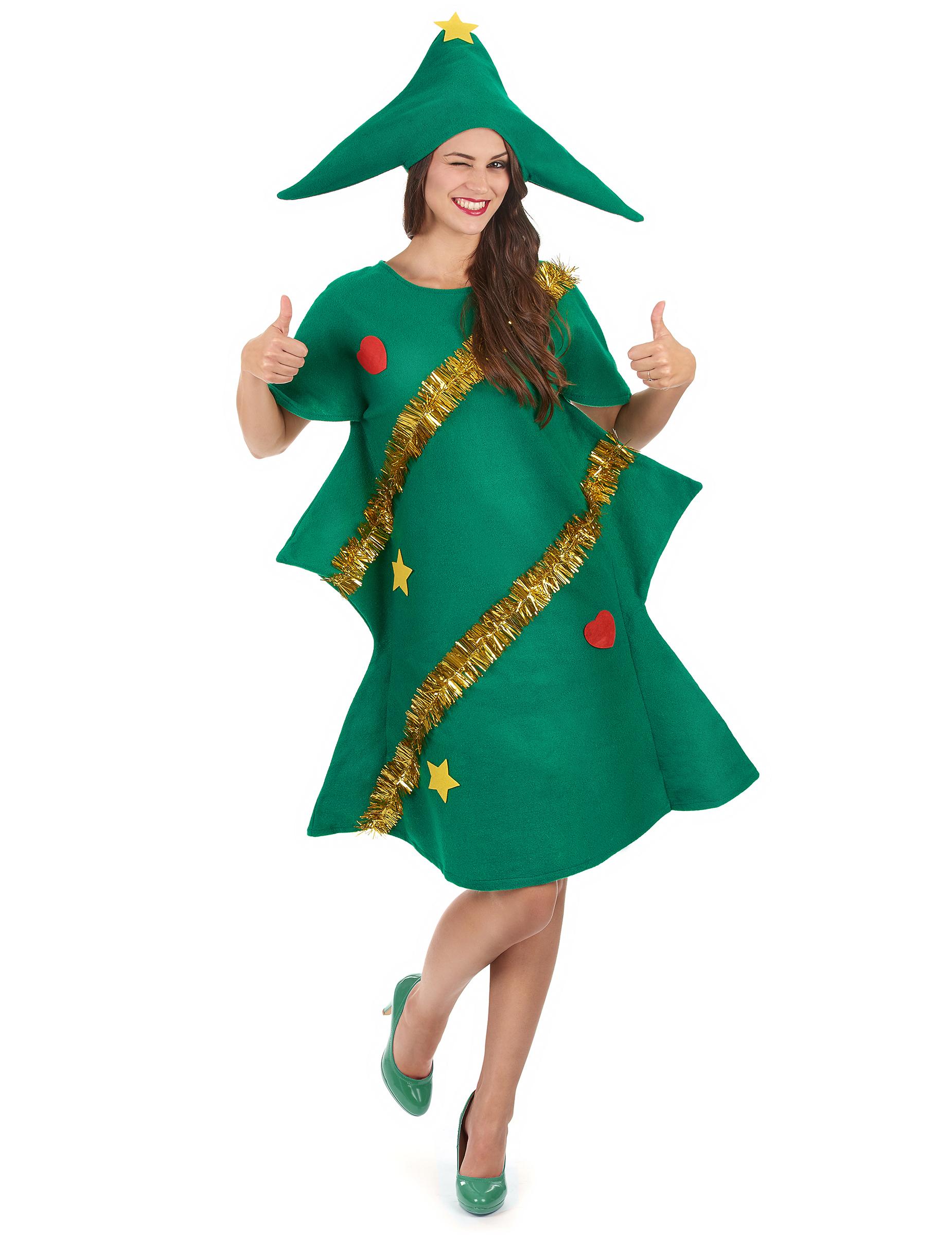 Weihnachtsbaum Kostum Aus Filz Fur Damen Grun Gold Kostume Fur