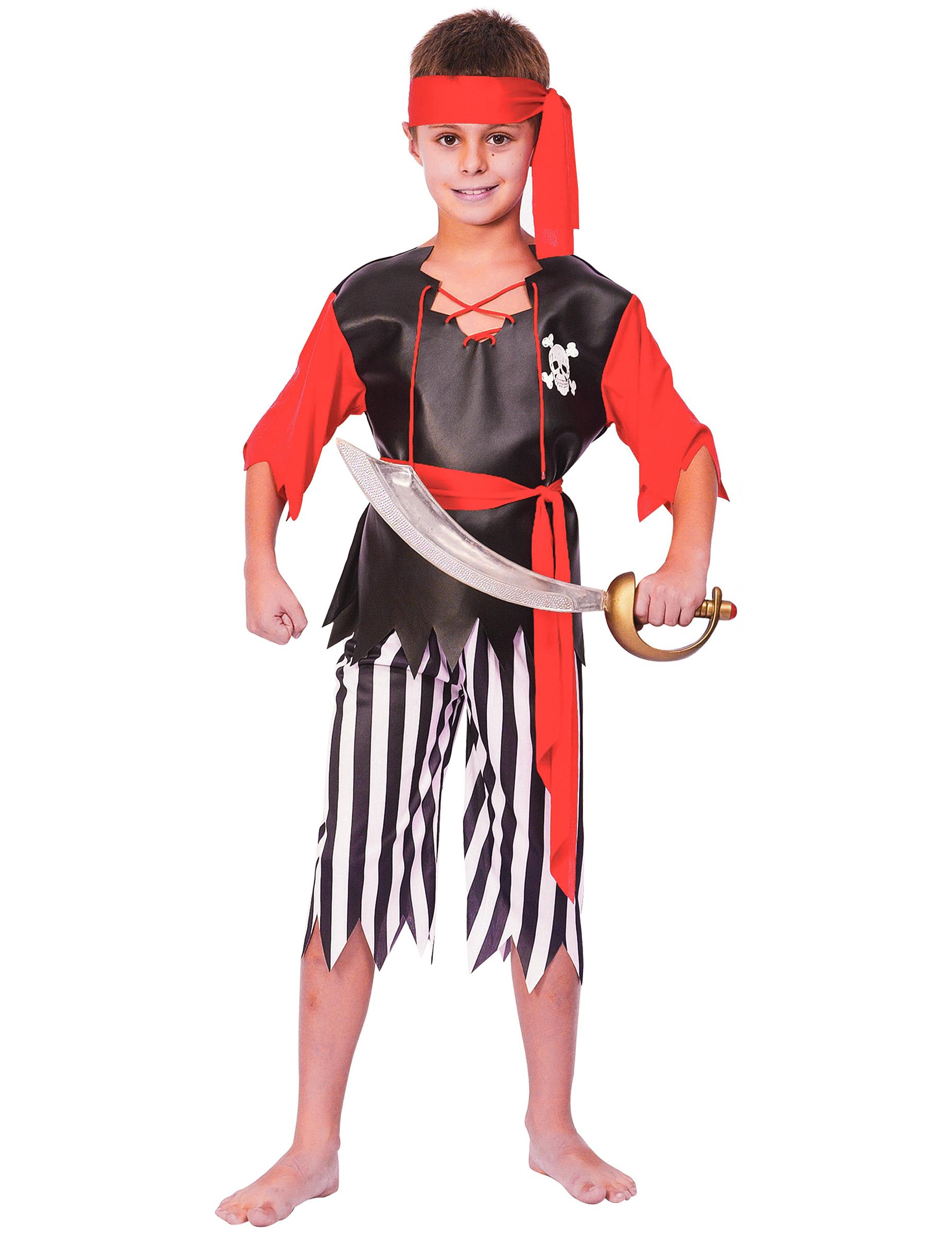 #Piraten Jungenkostüm schwarz-weiss-rot#