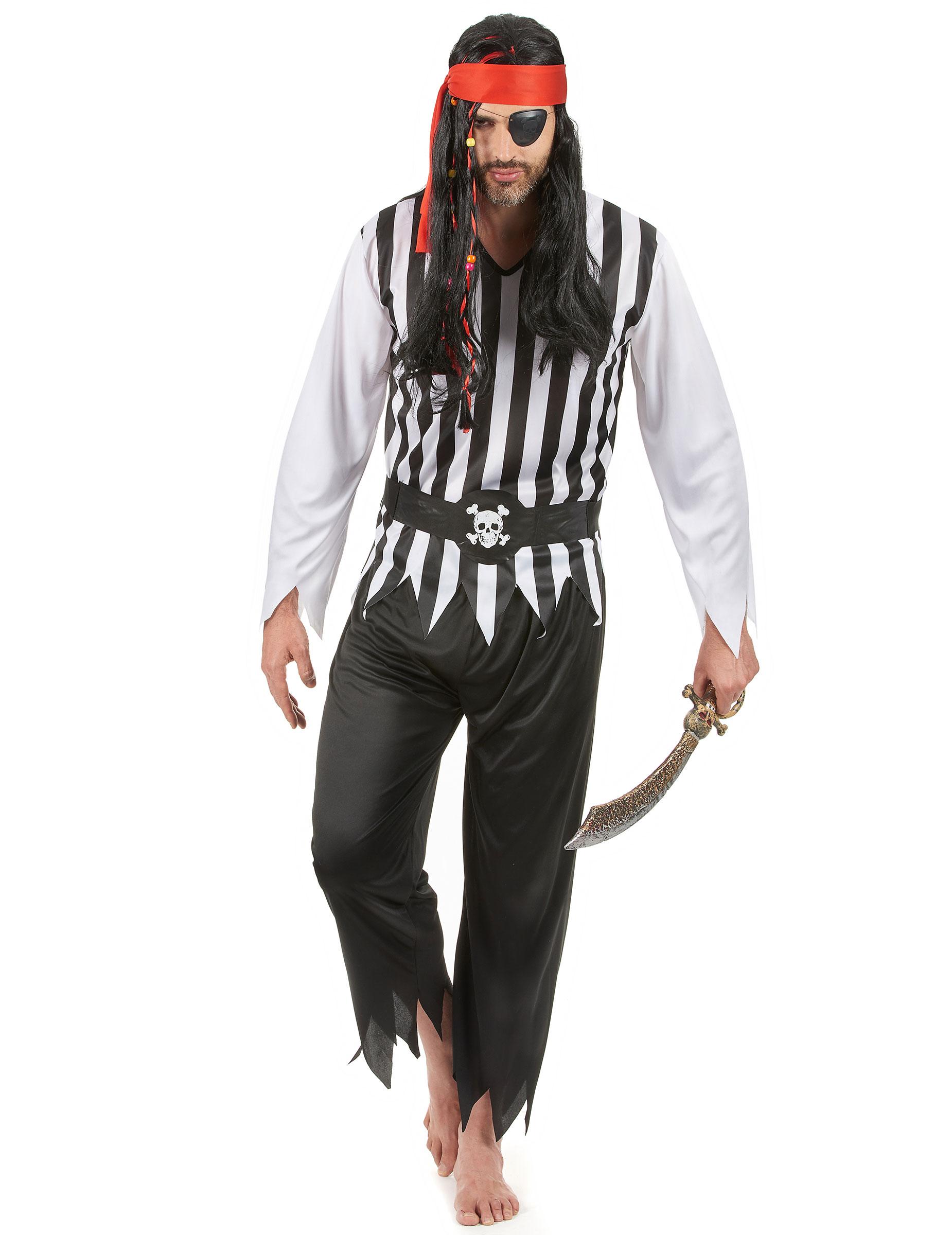 Piraten-Karnevalskostüm für Herren schwarz-weiss-rot - L 39351