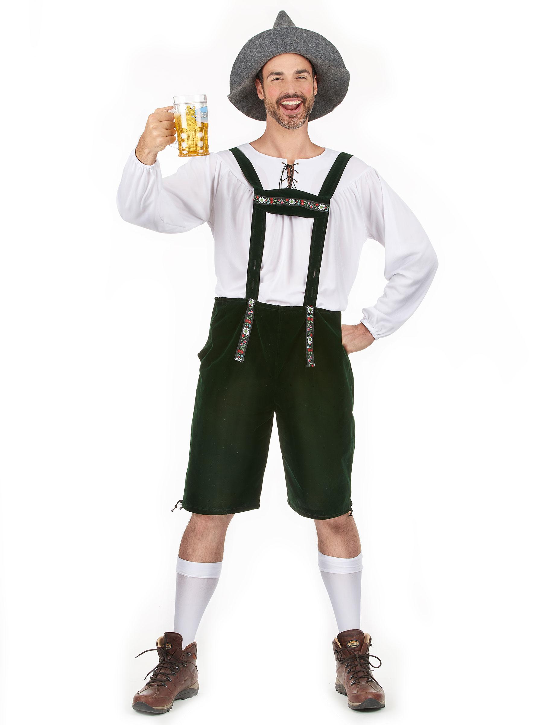 Oktoberfest Lederhose Bayrisch Herrenkostüm grün - S 72984