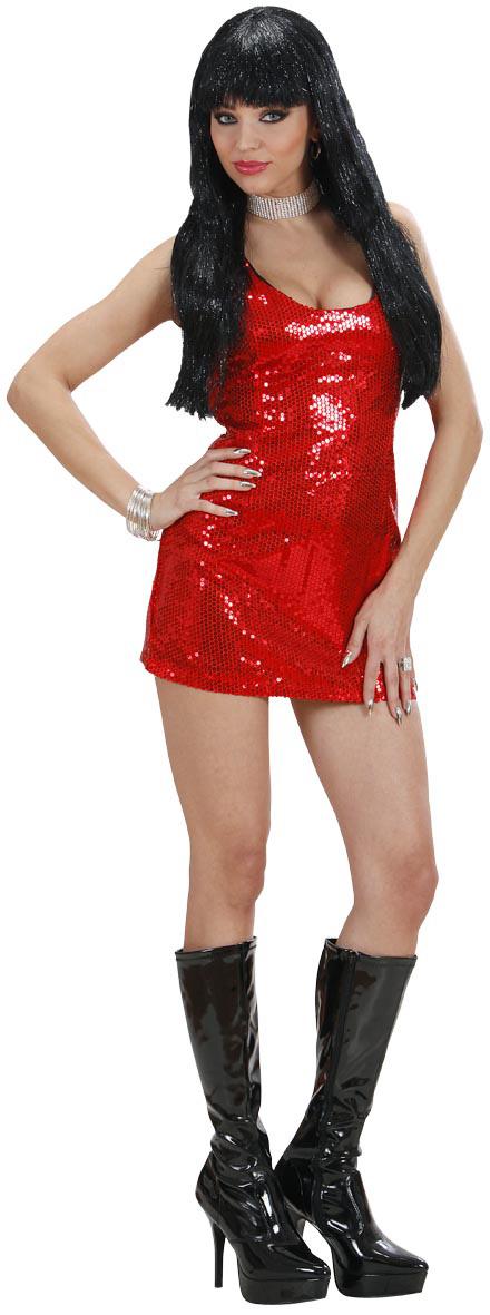 Disco Kostüm mit rotem Kleid für Damen: Kostüme für Erwachsene,und ...