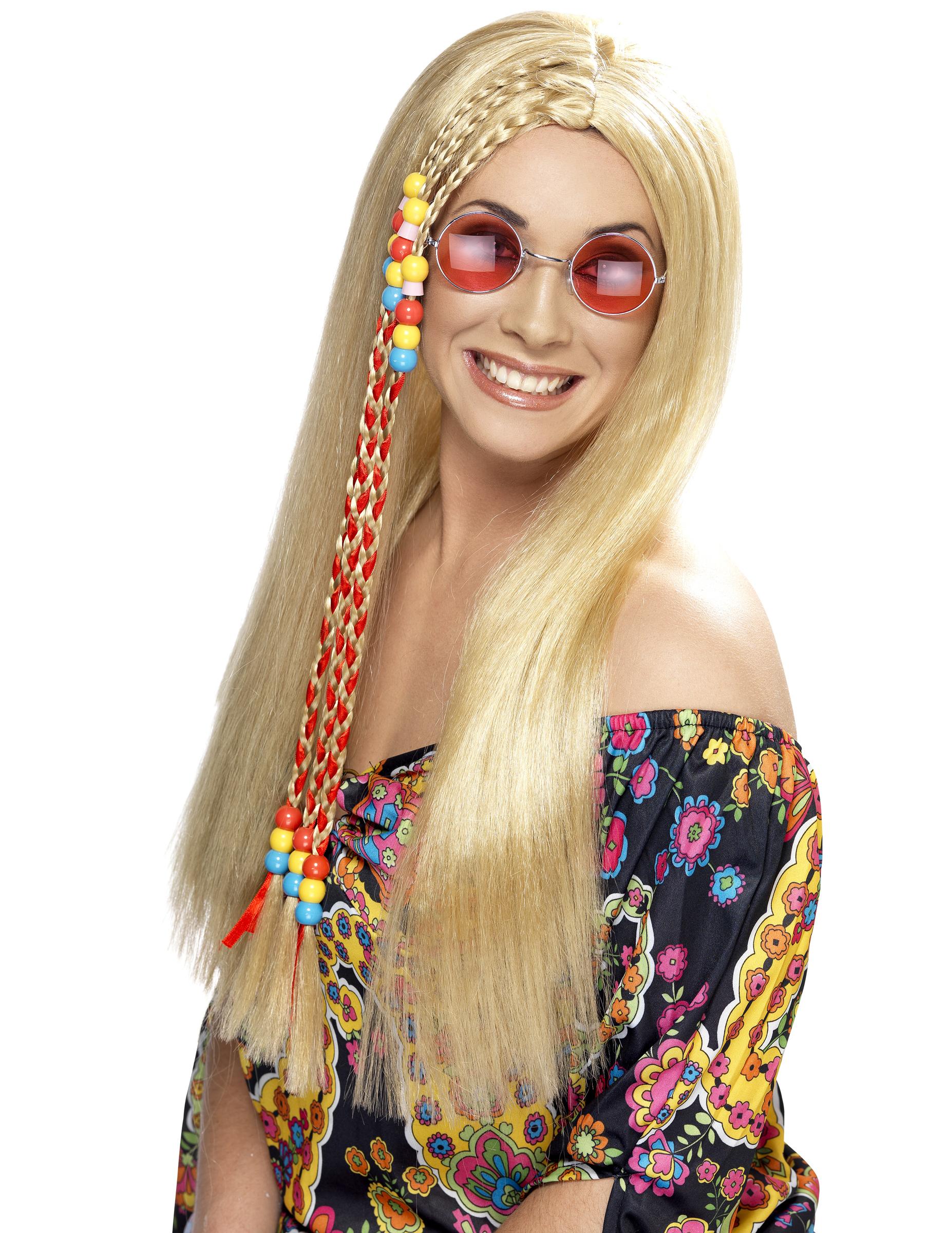 Hippie-Perücke blond für Damen 39891