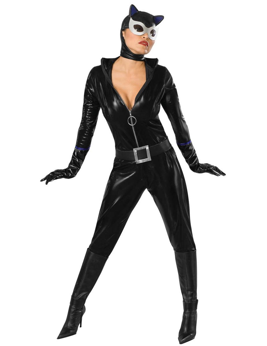 catwoman kostum fur damen jumpsuit schwarz