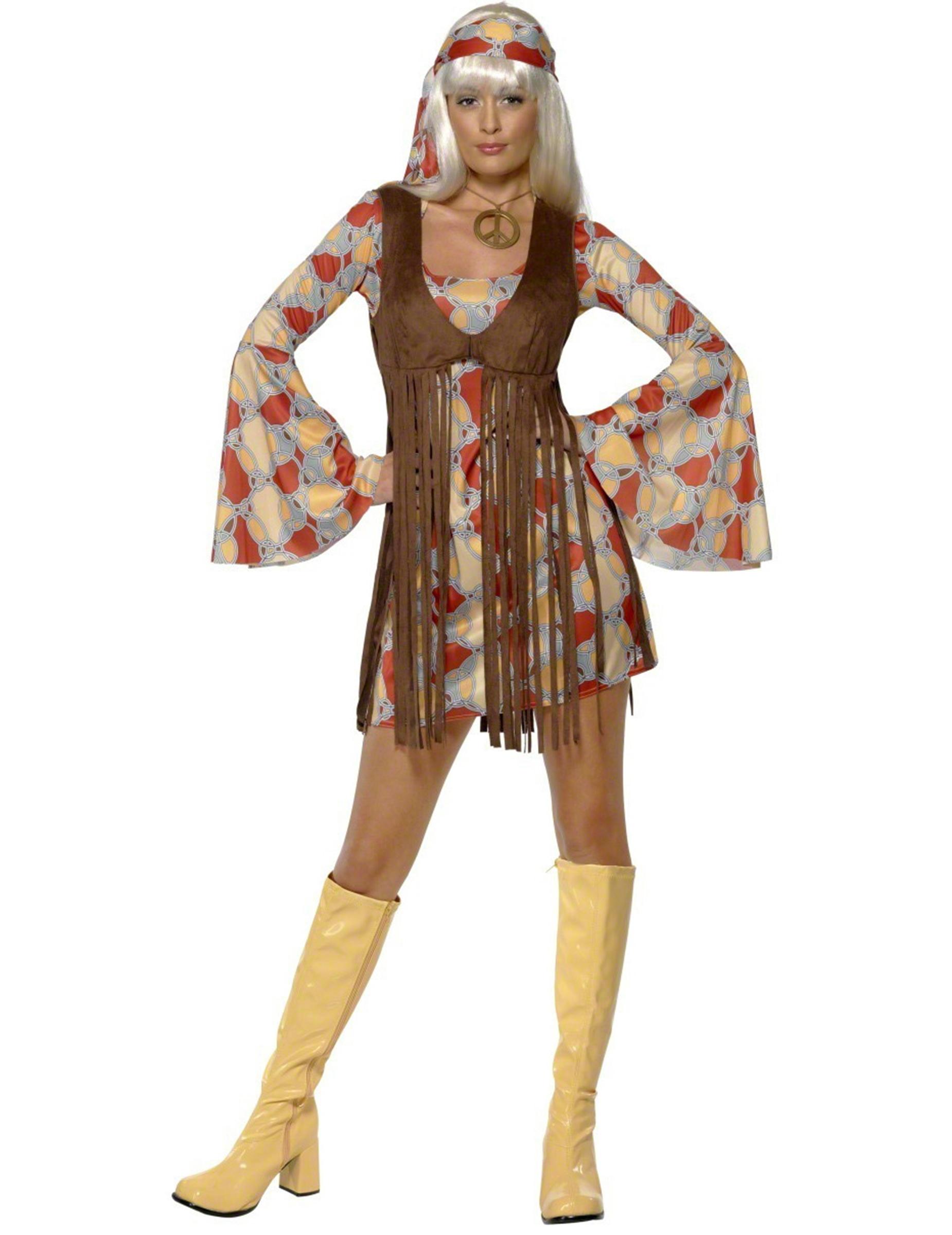 Hippie Damenkostum Mit Bandana Bunt Kostume Fur Erwachsene Und