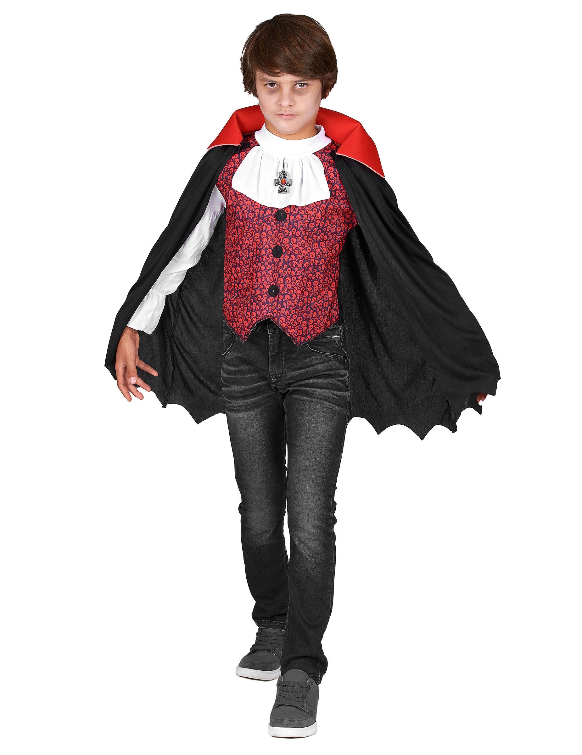 #Vampir-Kostüm mit Totenkopfmuster für Jungen schwarz-weiß-rot#