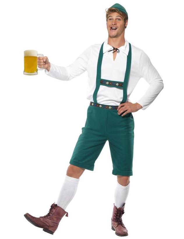 Bayrische-Lederhose Herrenkostüm Oktoberfest grün - M 49381