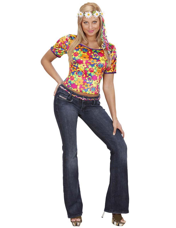 Hippie-Kostüm T-Shirt für Damen bunt - M 43600