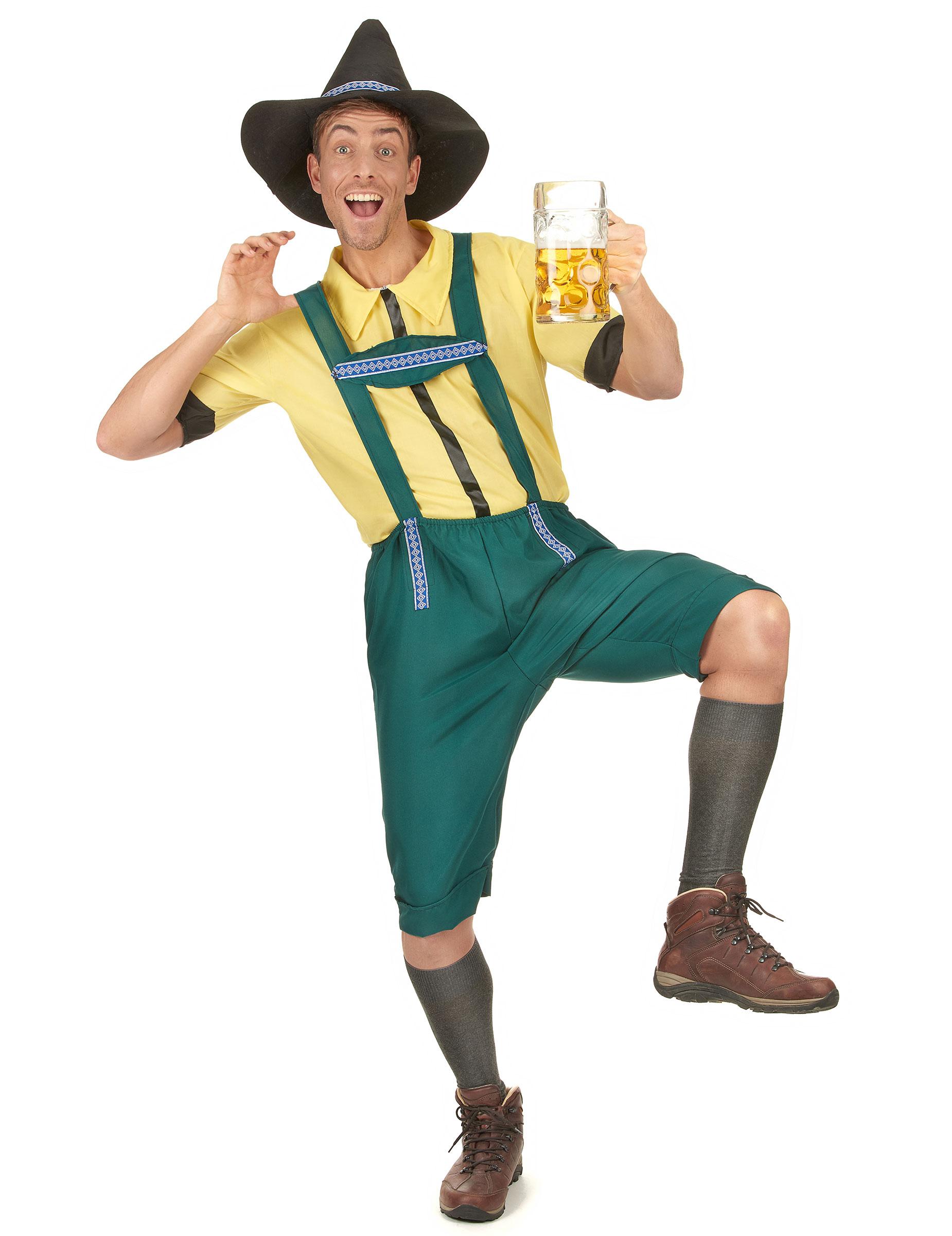 Bayrisches Kostüm Lederhose für Herren mit Hut grün-gelb - L 46128