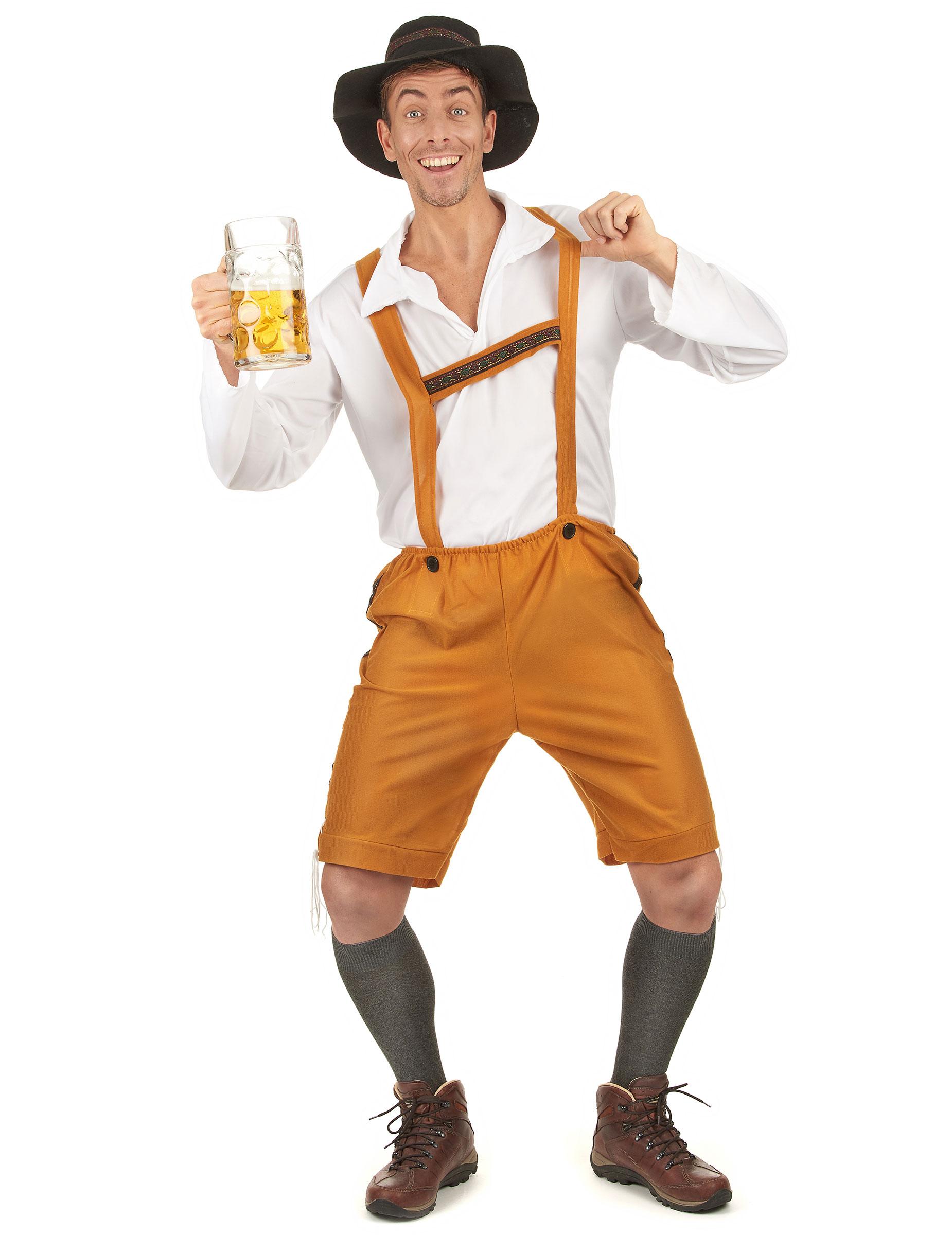 5eac660f319839 Bayrisches Kostüm Lederhose für Herren hellbraun Oktoberfest