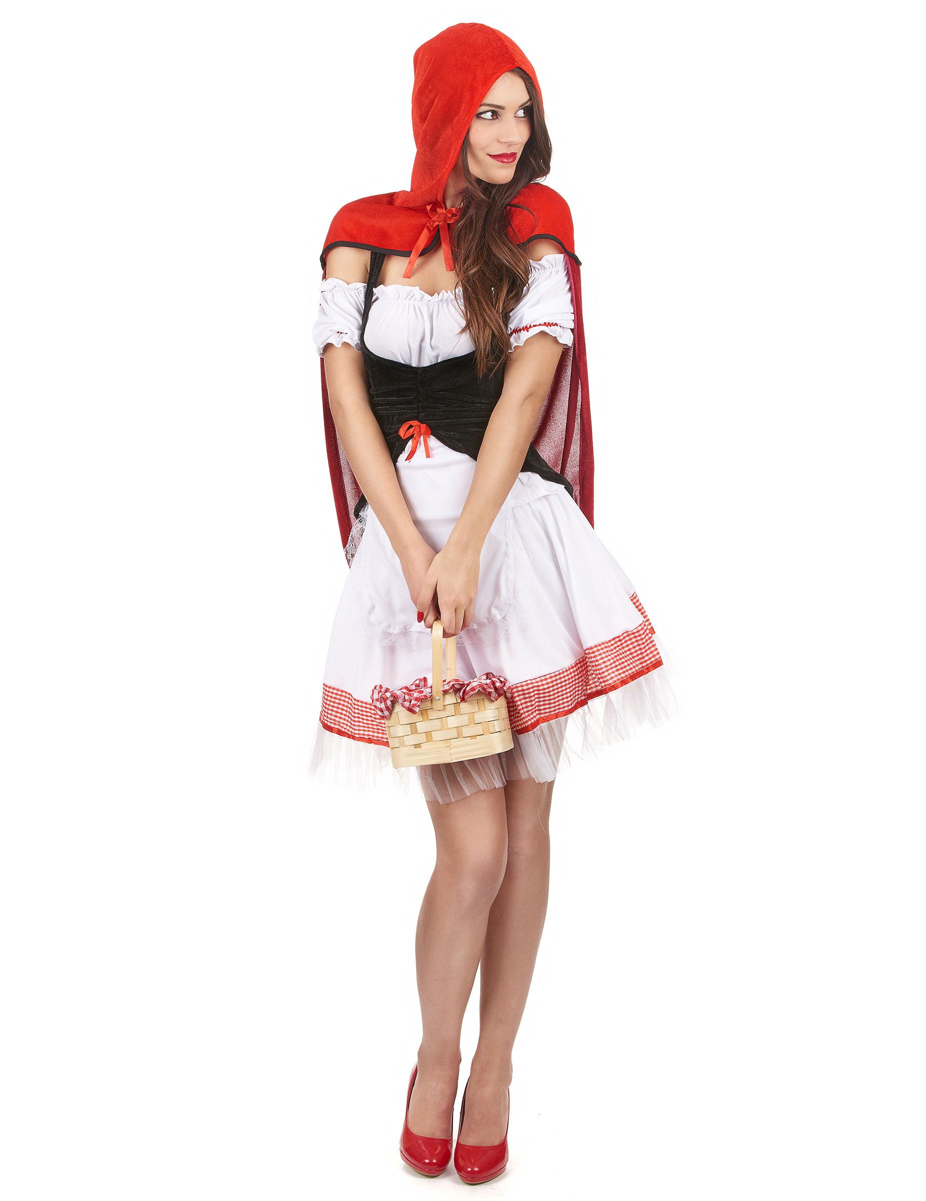 Sexy Rotkappchen Damenkostum Schwarz Weiss Rot Kostume Fur