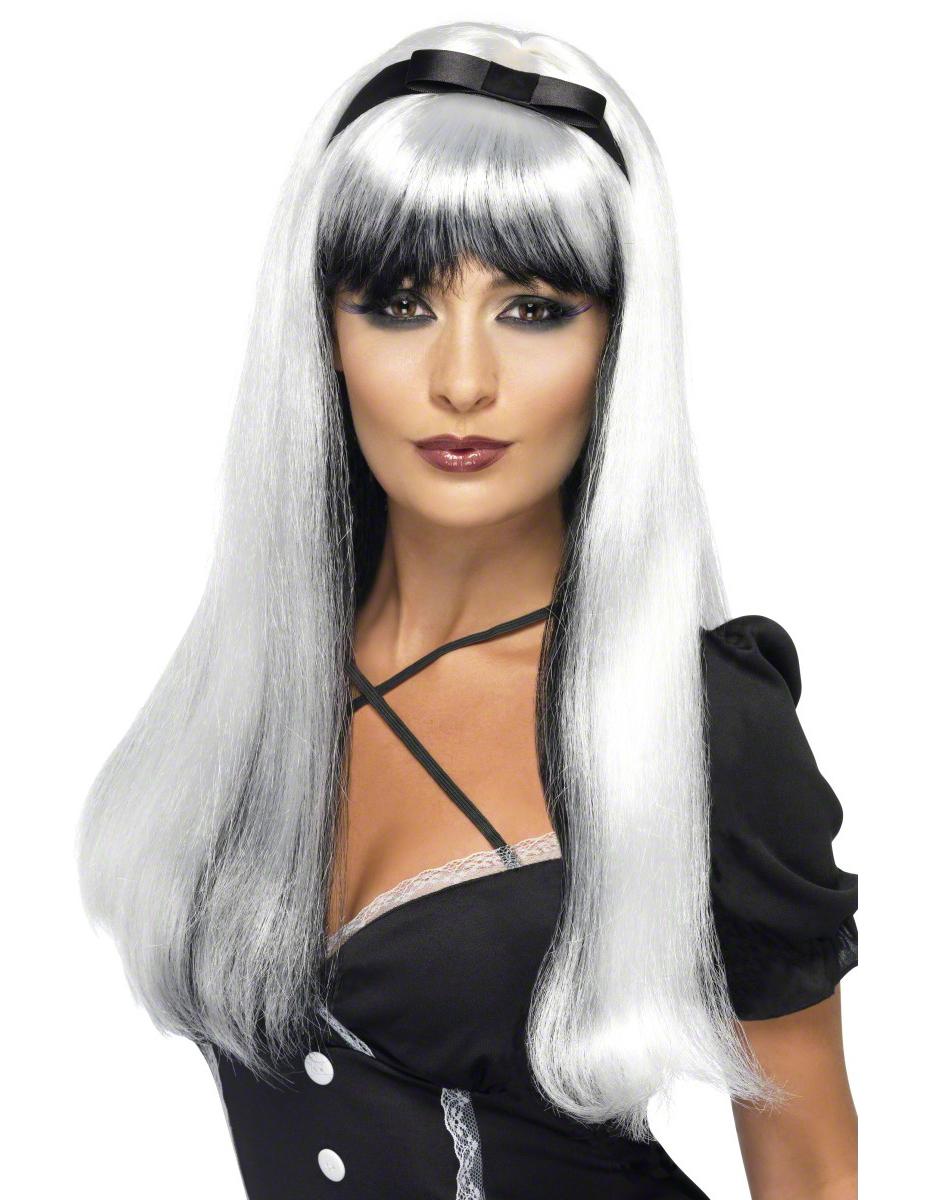 weiß-schwarze Perücke für Damen 47651