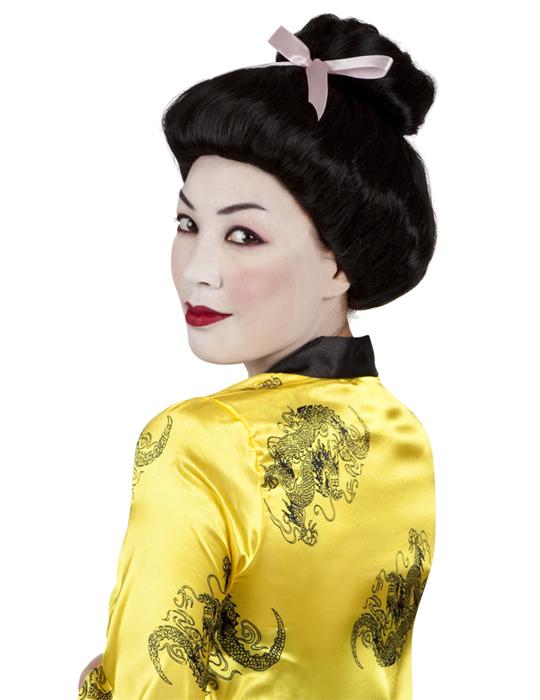 Geisha Perücke für Damen Hochsteckfrisur mit Schleife schwarz 47716