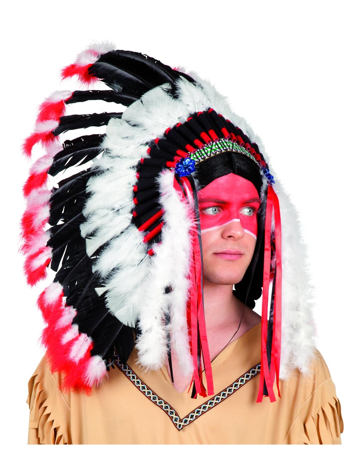 Indianer federschmuck f r erwachsene h te und g nstige faschingskost me vegaoo - Maquillage indien homme ...