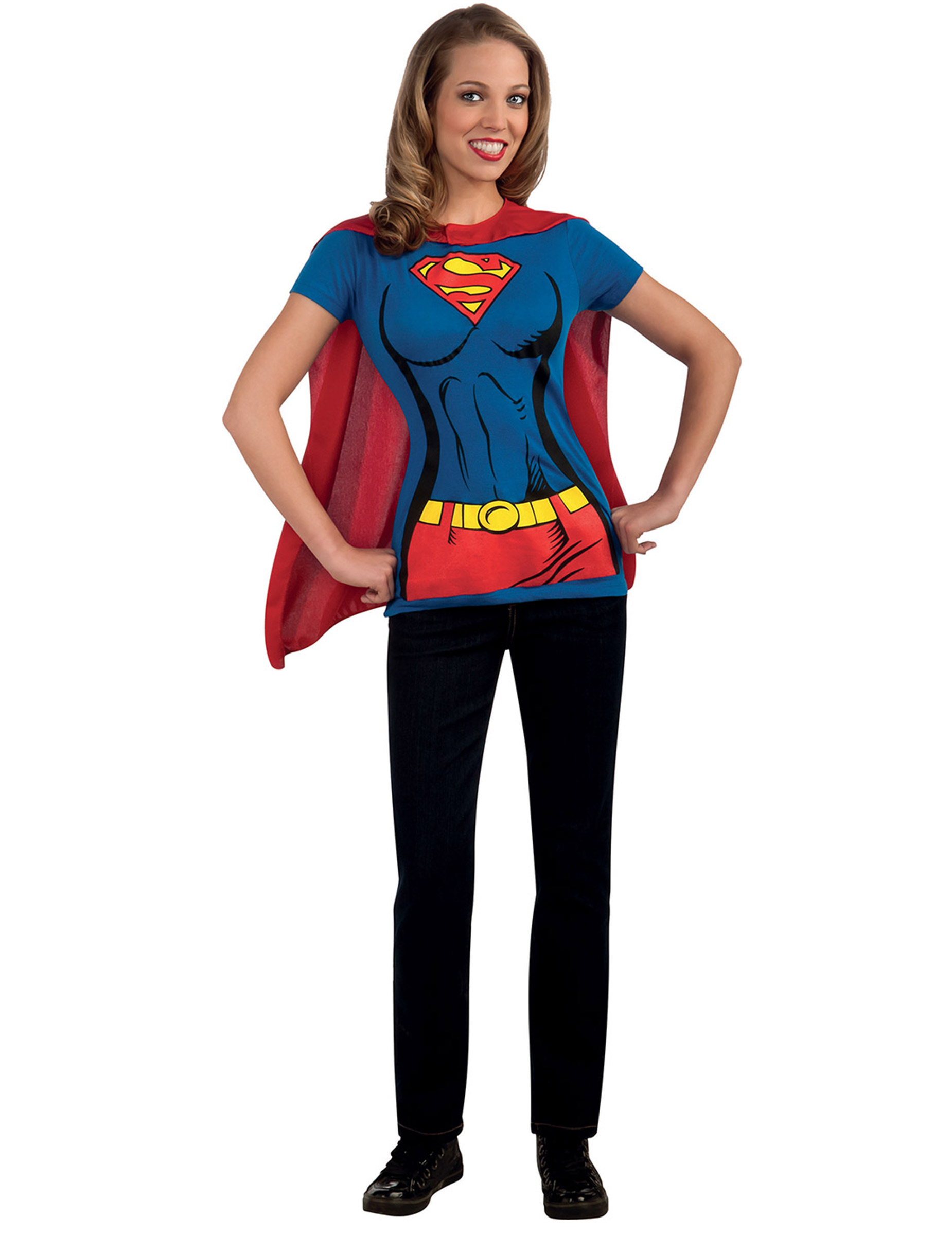 supergirl t shirt f r erwachsene kost me f r erwachsene und g nstige faschingskost me vegaoo. Black Bedroom Furniture Sets. Home Design Ideas