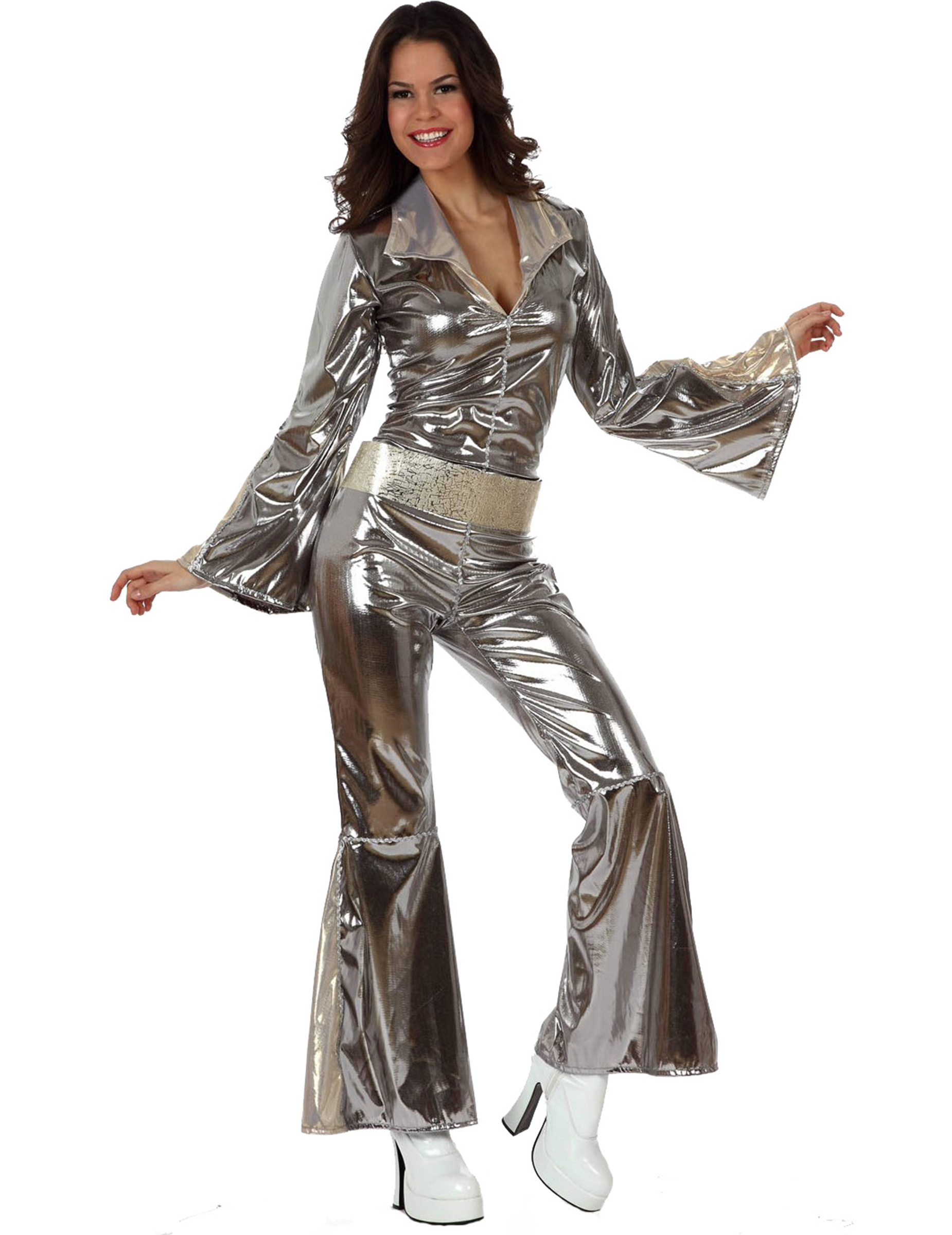 silbernes disco kost m f r damen kost me f r erwachsene. Black Bedroom Furniture Sets. Home Design Ideas
