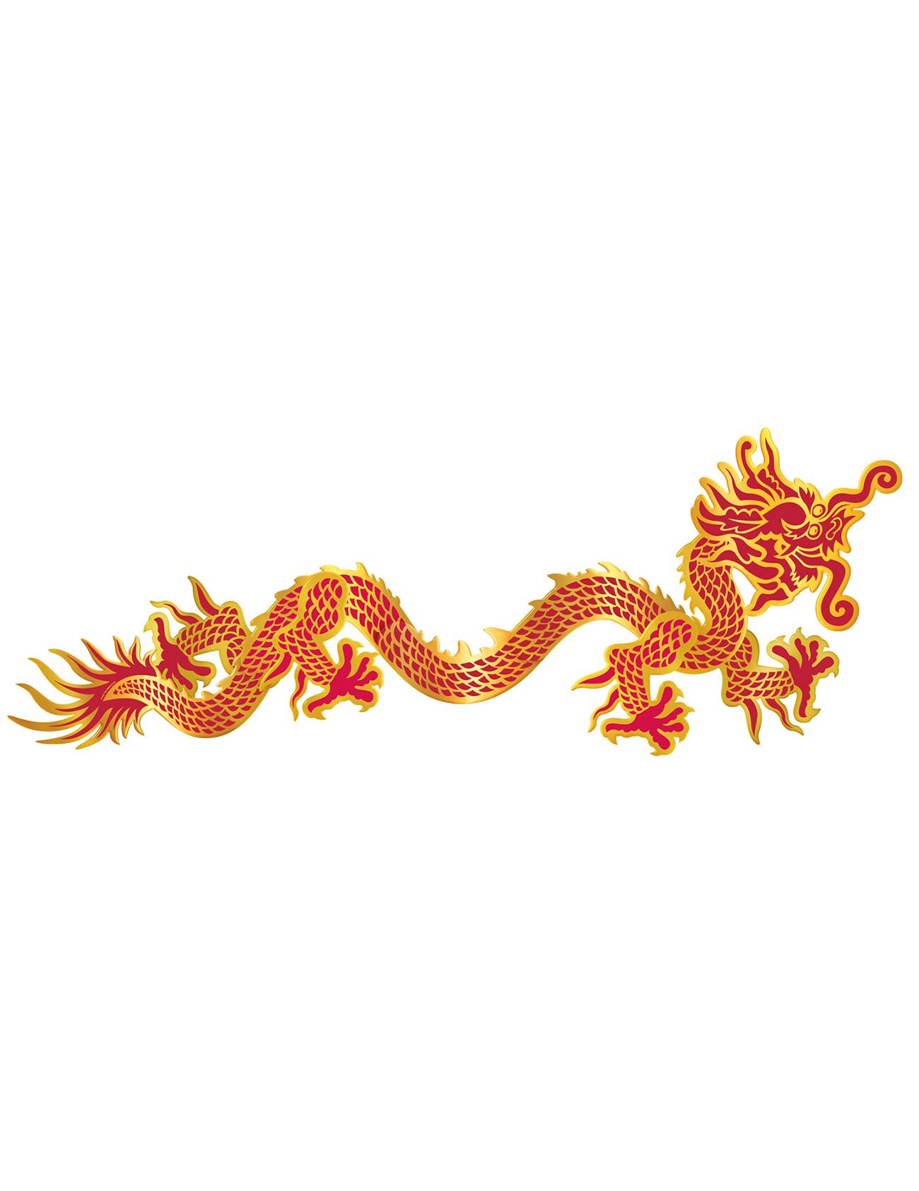 Rot goldener drache chinesische neujahrs wanddeko - Goldene wanddeko ...