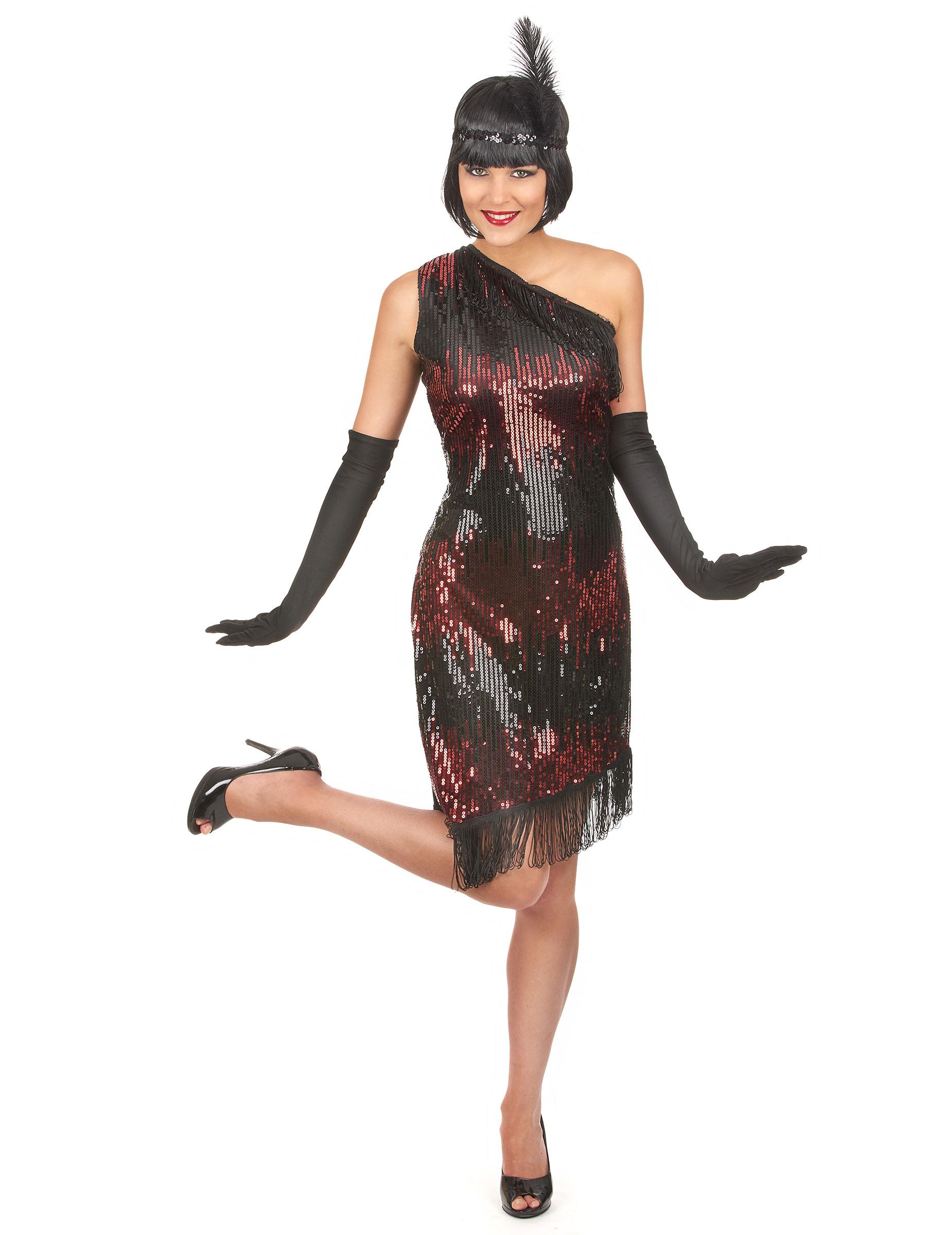 Charleston Kleid schwarz-rot für Damen - S 59464