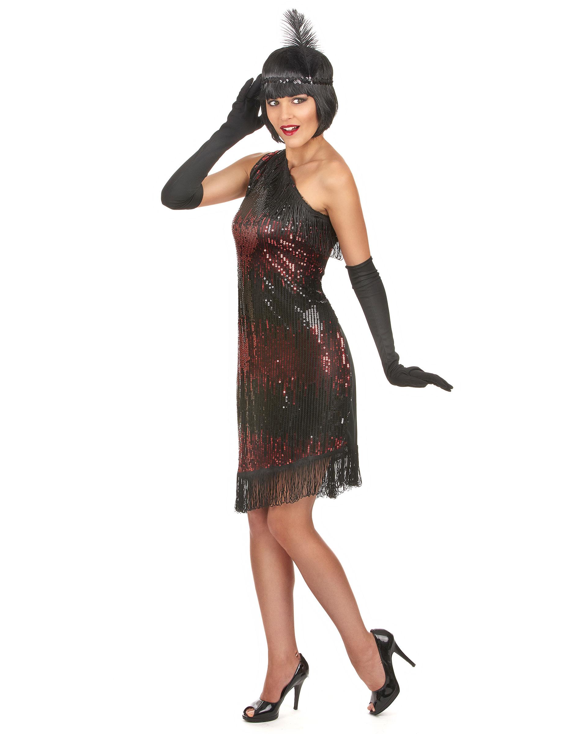 Charleston Kleid schwarz-rot für Damen: Kostüme für Erwachsene,und ...