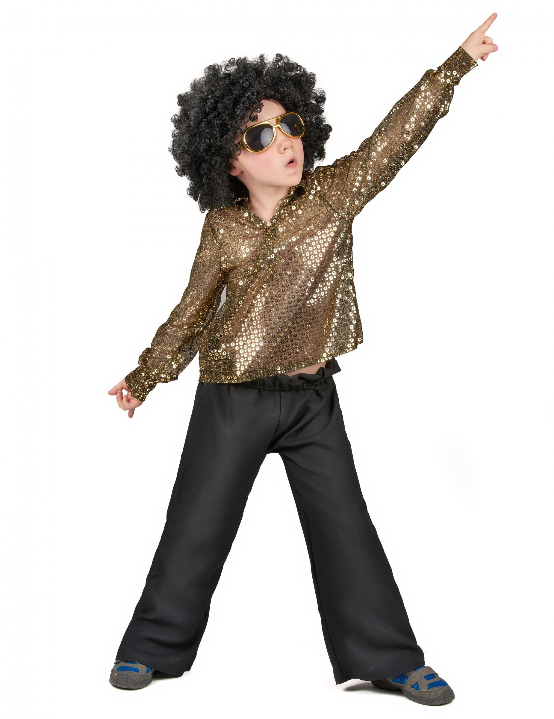 #Goldenes Disco-Kostüm mit Pailletten für Jungen#