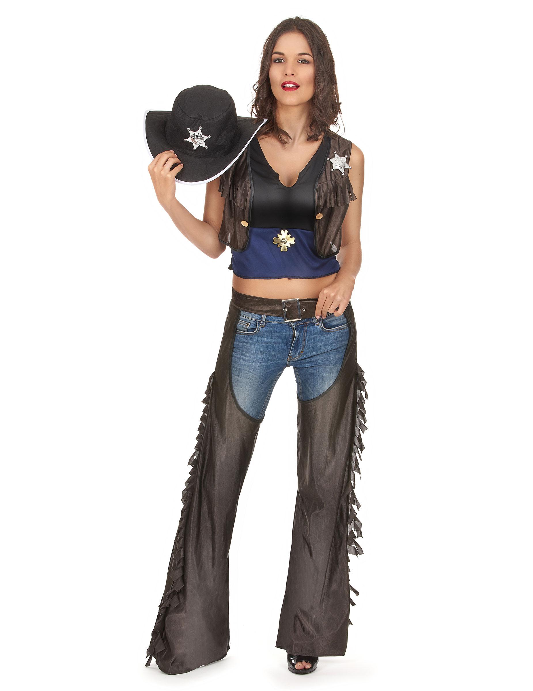 Cowgirl-Kostüm mit Beinschutz für Damen