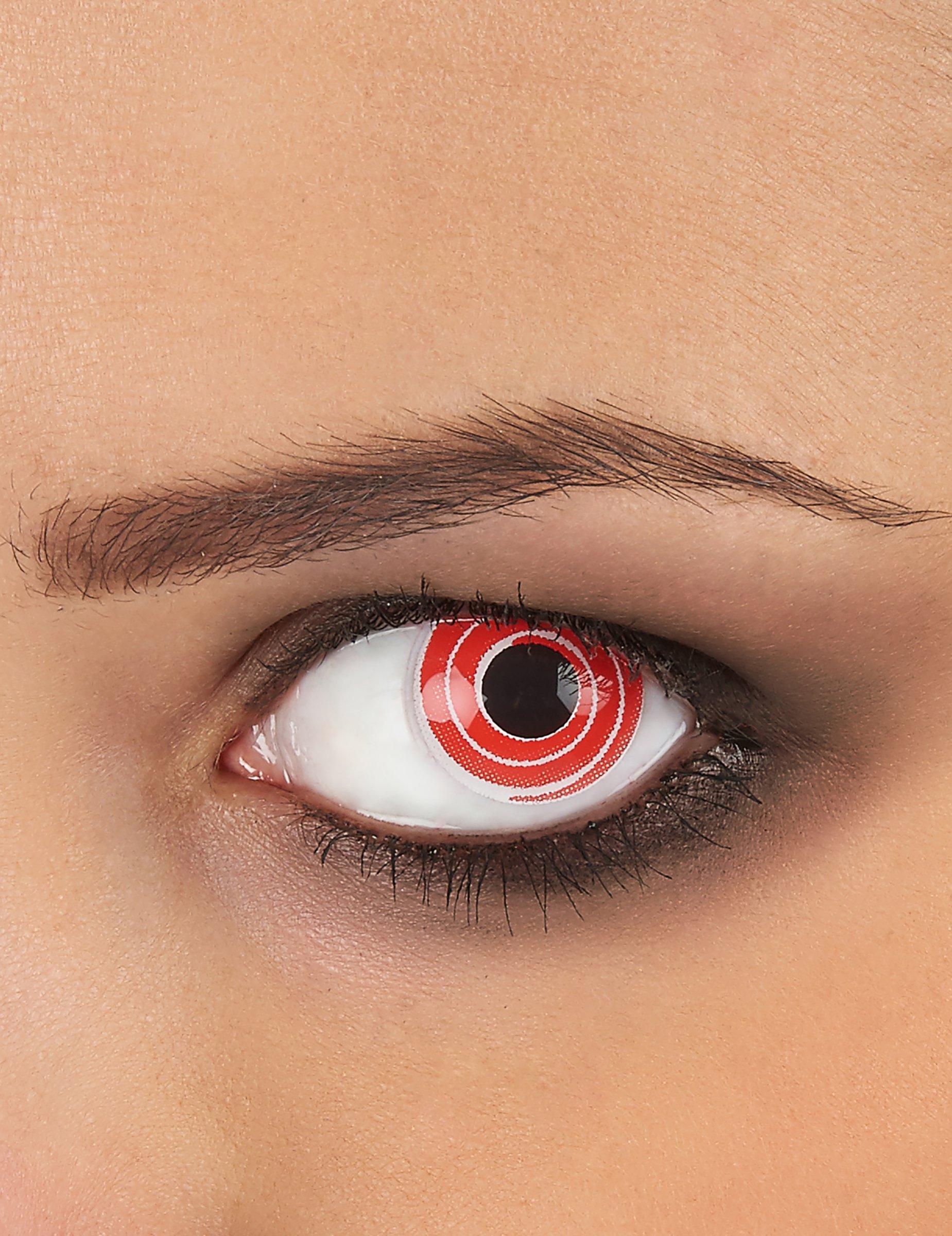 originelle kontaktlinsen rot wei e spirale schminke und. Black Bedroom Furniture Sets. Home Design Ideas