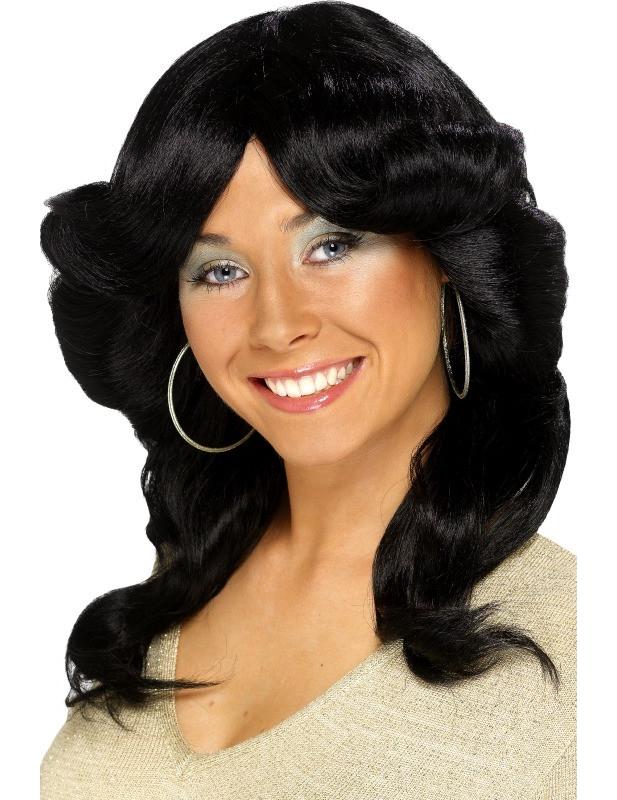 Schwarze 70er-Jahre-Perücke für Damen 63086