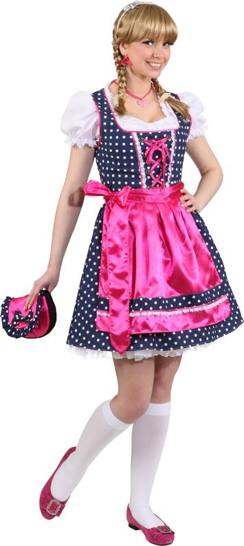 dirndl gepunktet dunkelblau pink f r damen kost me f r. Black Bedroom Furniture Sets. Home Design Ideas