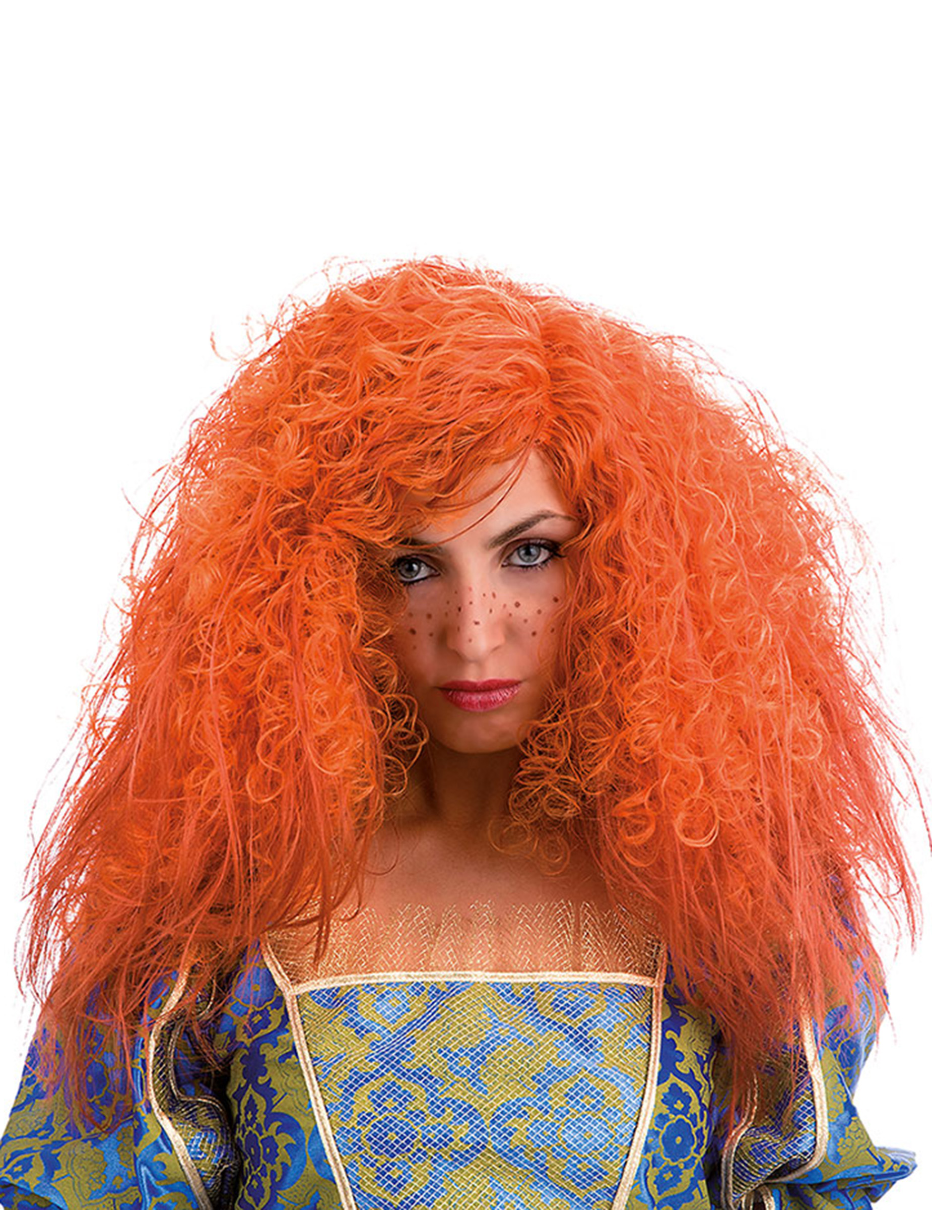 Orangefarbene Perücke mit krisseligem Haar 66377