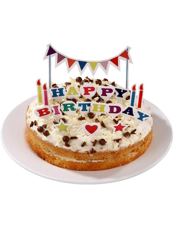 Dekoration happy birthday f r kuchen und torten partydeko for Dekoration kuchen