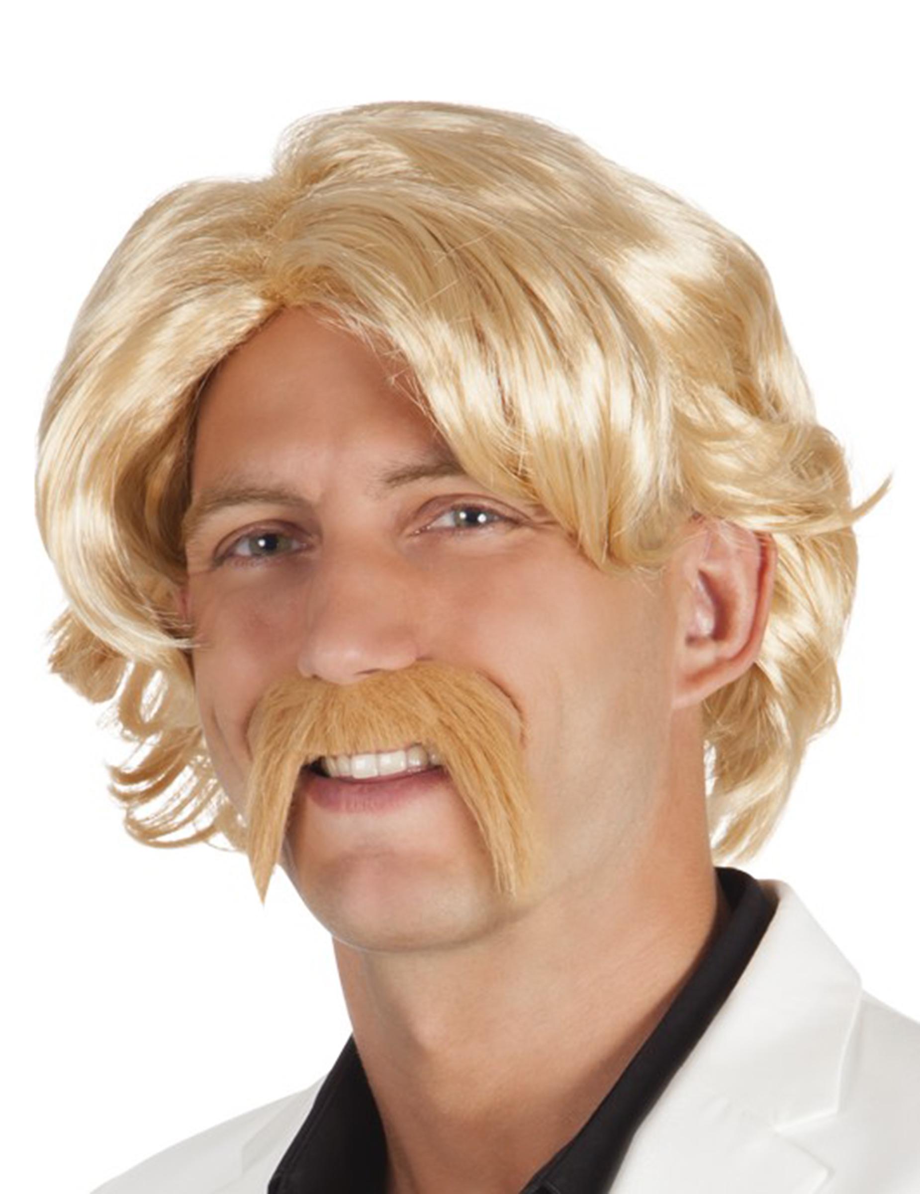 Blonde Perücke mit Bart für Herren 68289