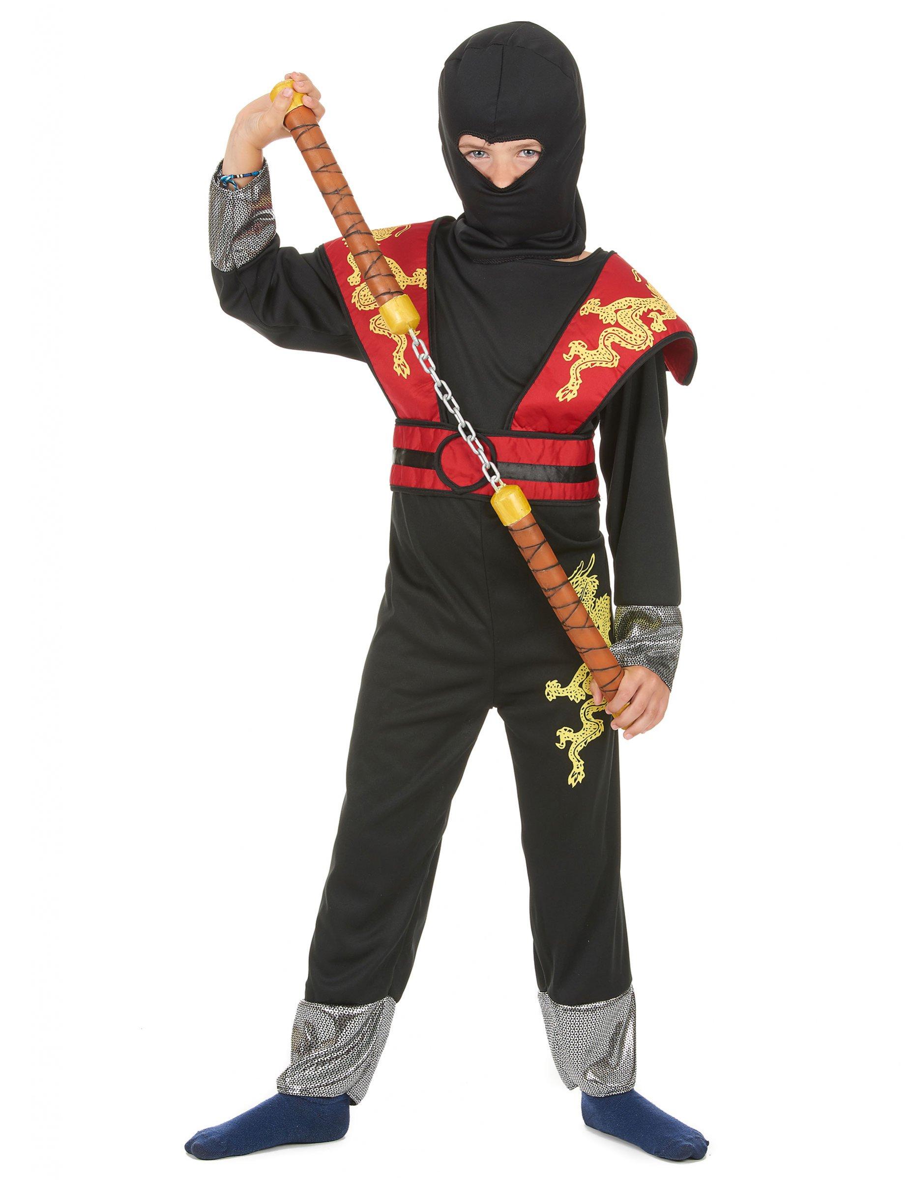 gelb rotes ninja k mpfer kost m f r jungen. Black Bedroom Furniture Sets. Home Design Ideas