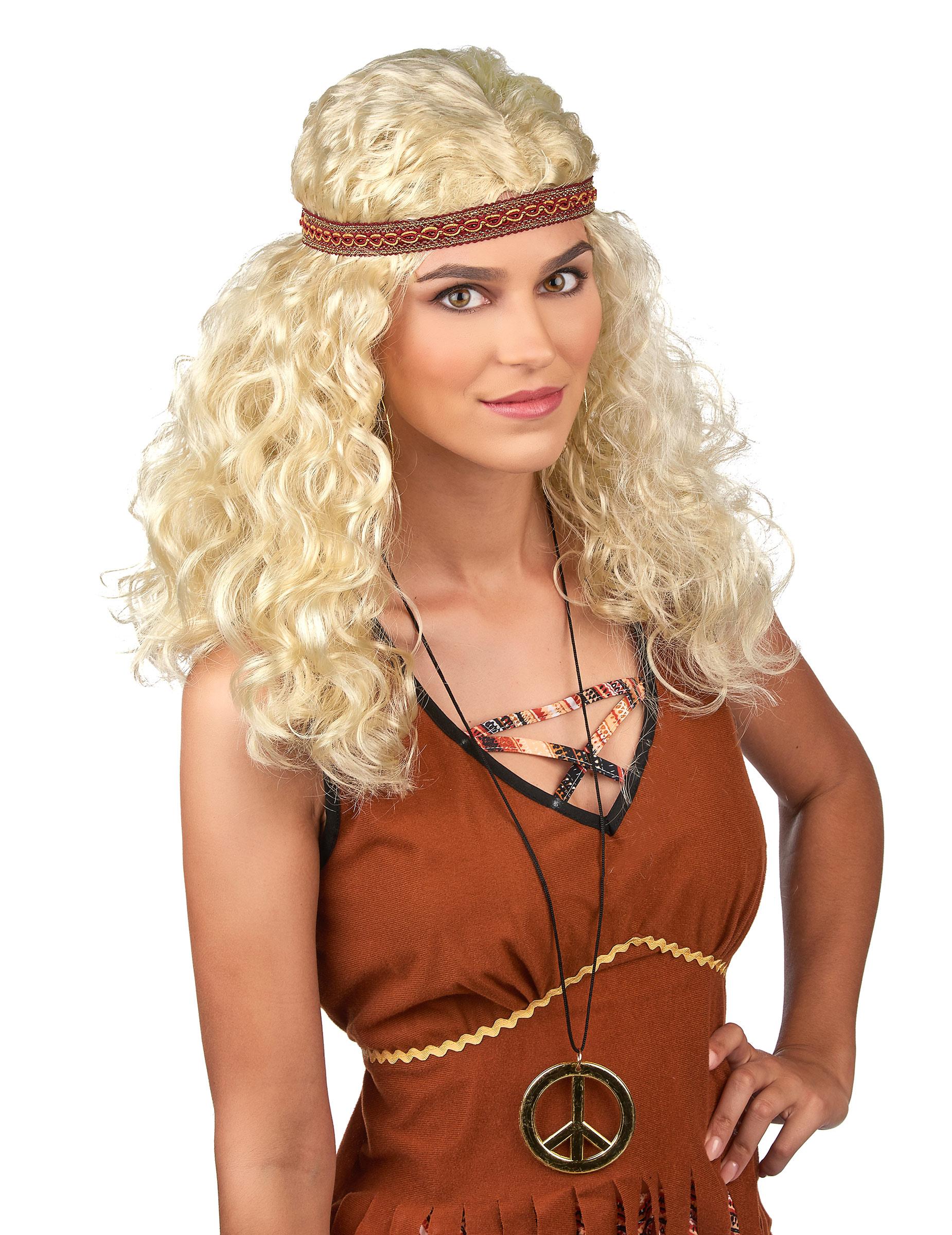Blonde Hippie Perücke für Frauen 69499
