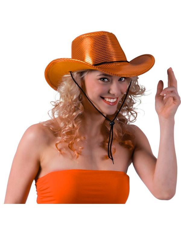 orangefarbener cowboy hut mit pailletten f r erwachsene h te und g nstige faschingskost me. Black Bedroom Furniture Sets. Home Design Ideas