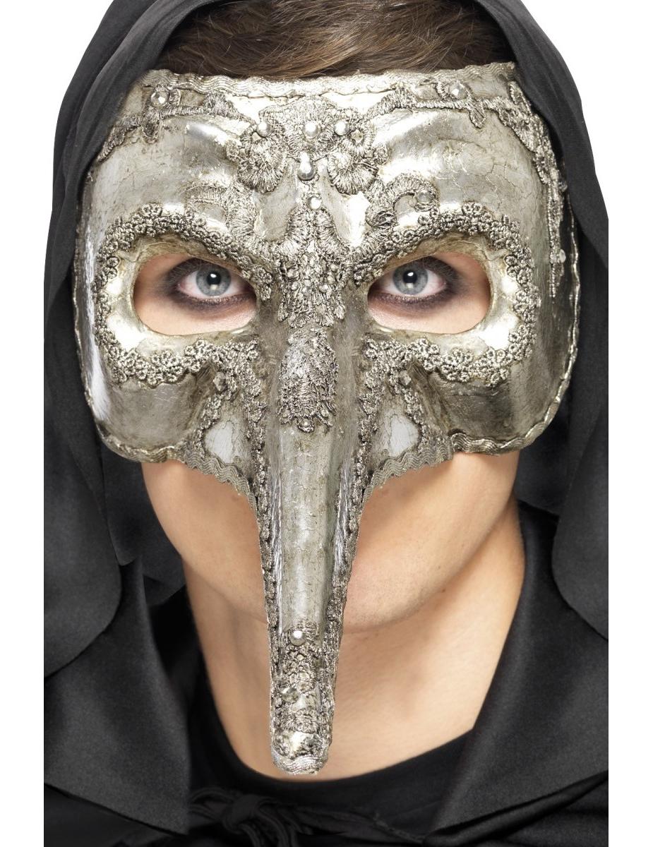 Venezianische Maske in silber mit langer Nase 70721