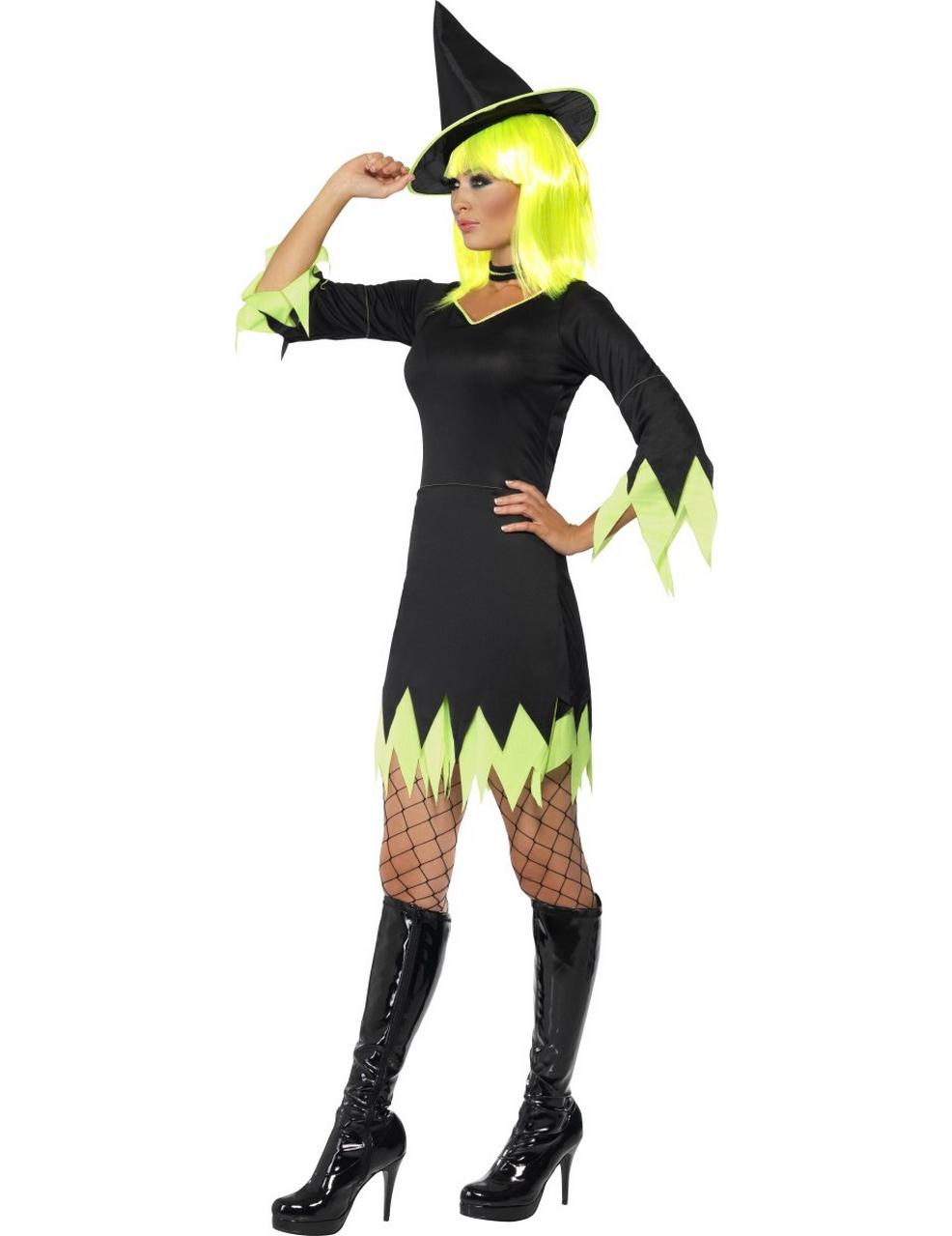 halloween hexen kost m schwarz gelb f r damen kost me f r. Black Bedroom Furniture Sets. Home Design Ideas