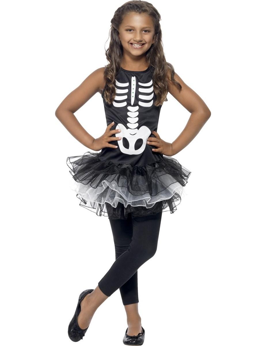 schwarze skelett verkleidung mit tutu f r m dchen halloween. Black Bedroom Furniture Sets. Home Design Ideas