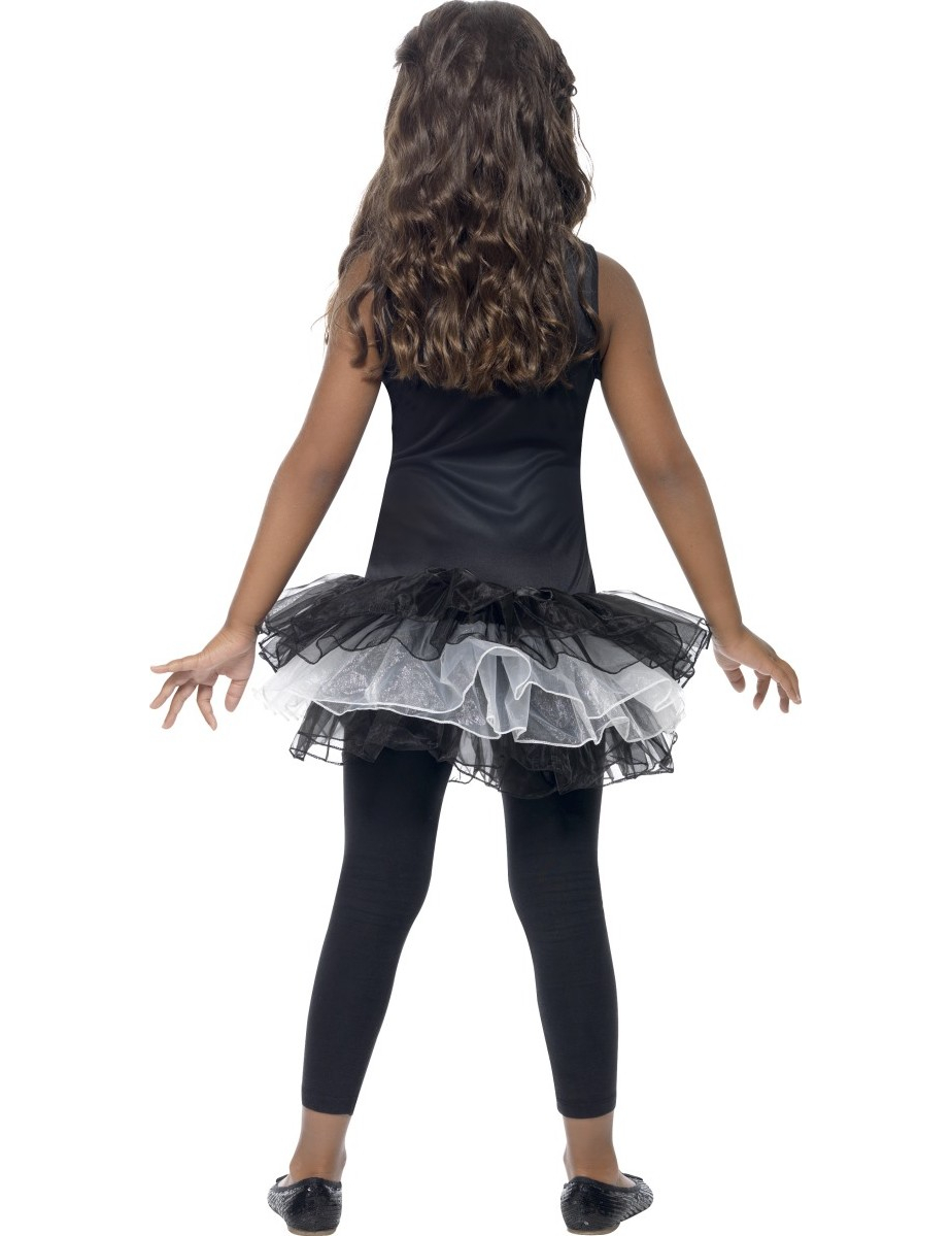 schwarze skelett verkleidung mit tutu f r m dchen halloween kost me f r kinder und g nstige. Black Bedroom Furniture Sets. Home Design Ideas