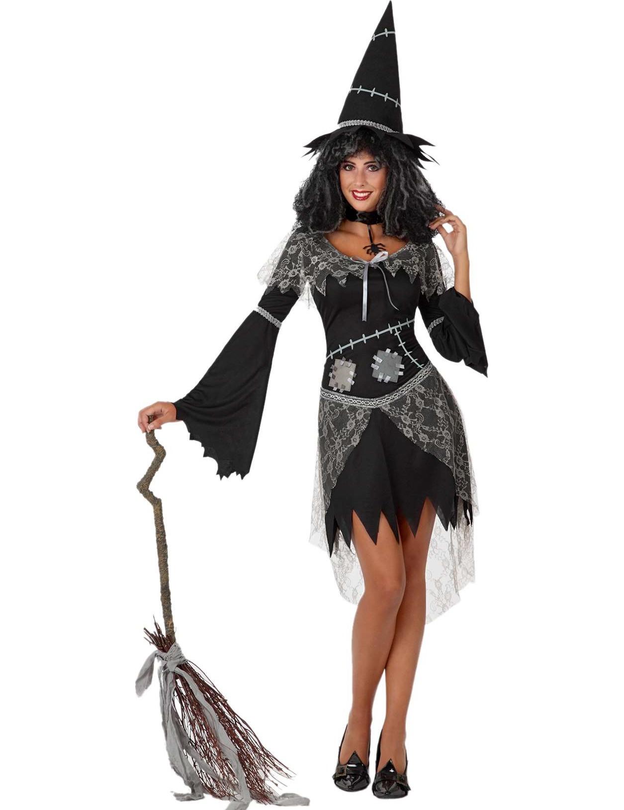 halloween schwarze und graue hexe kost m f r damen halloween kost me f r erwachsene und. Black Bedroom Furniture Sets. Home Design Ideas