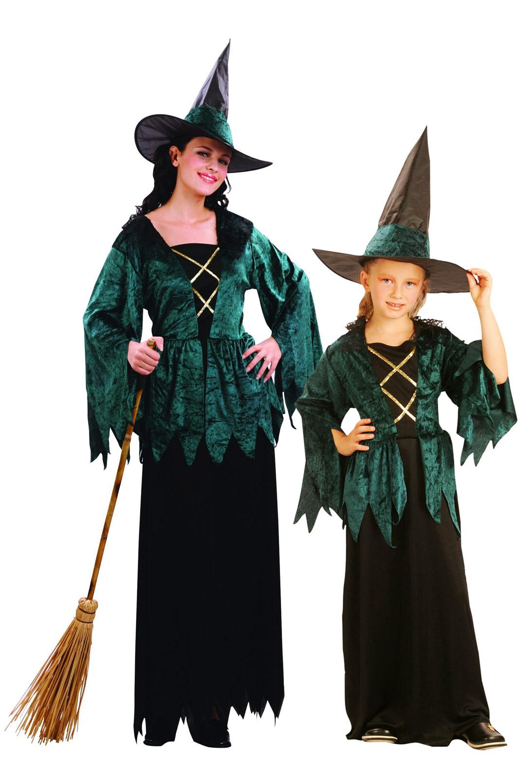 halloween paar kost m hexen mutter tochter in gr n paarkost me und g nstige faschingskost me. Black Bedroom Furniture Sets. Home Design Ideas