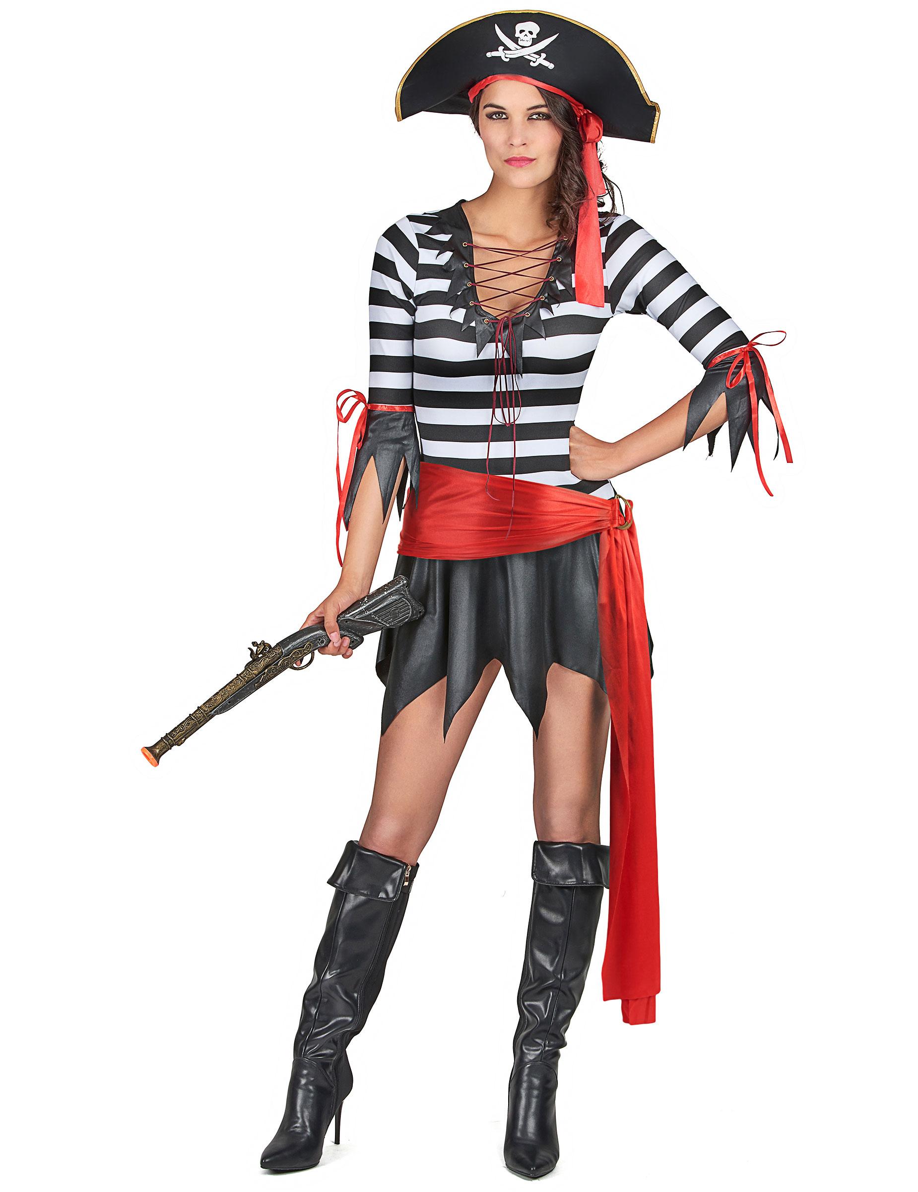 Gestreiftes Piratenkostum Fur Damen Schwarz Weiss Rot