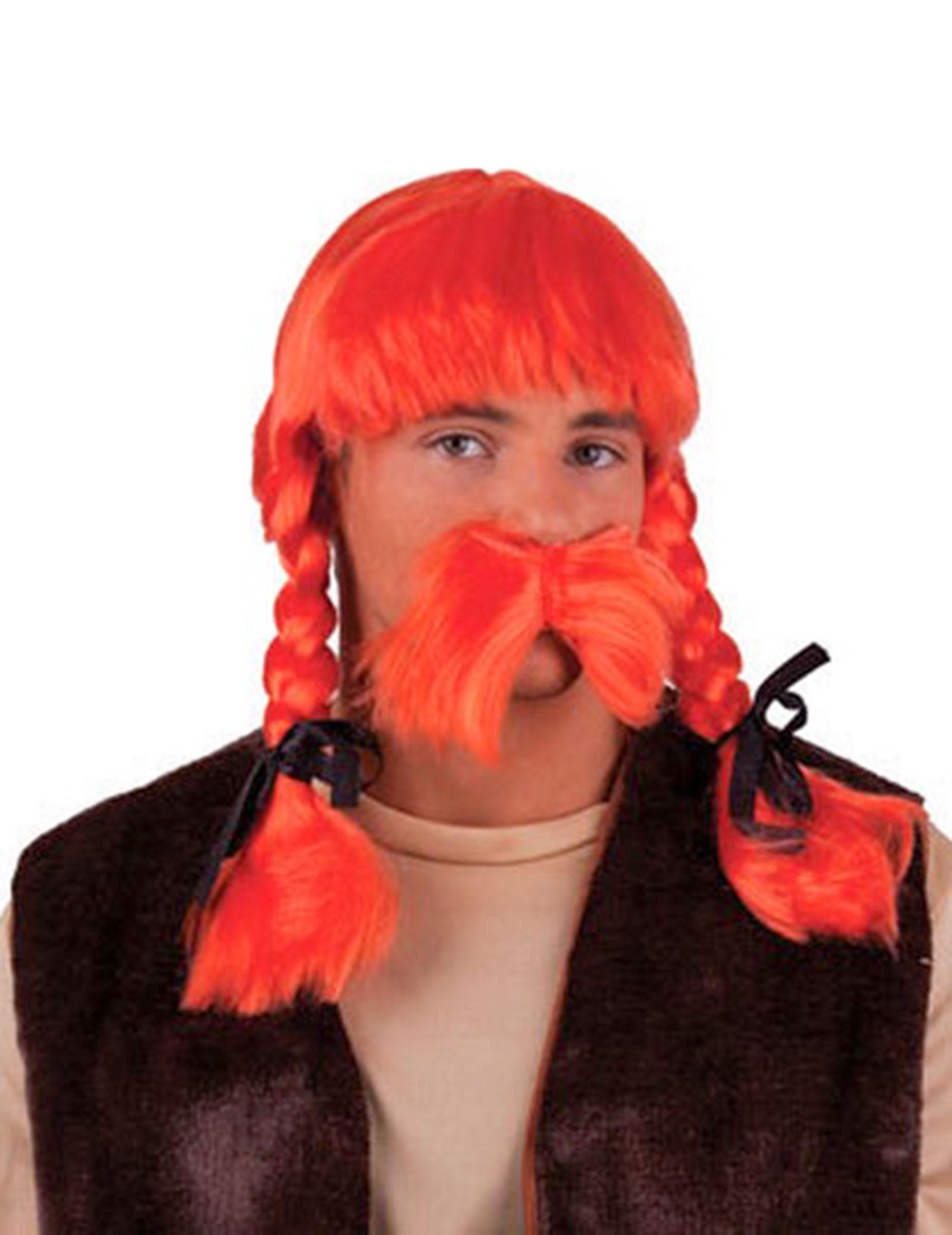 Orange Gallier Perücke mit Bart für Herren 71692