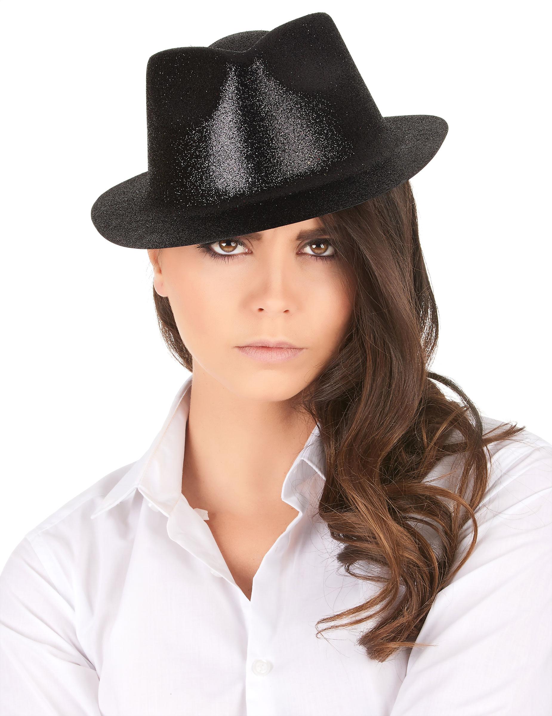 Glitzer Party Hut schwarz - stylishe Accessoires bei VEGAOO